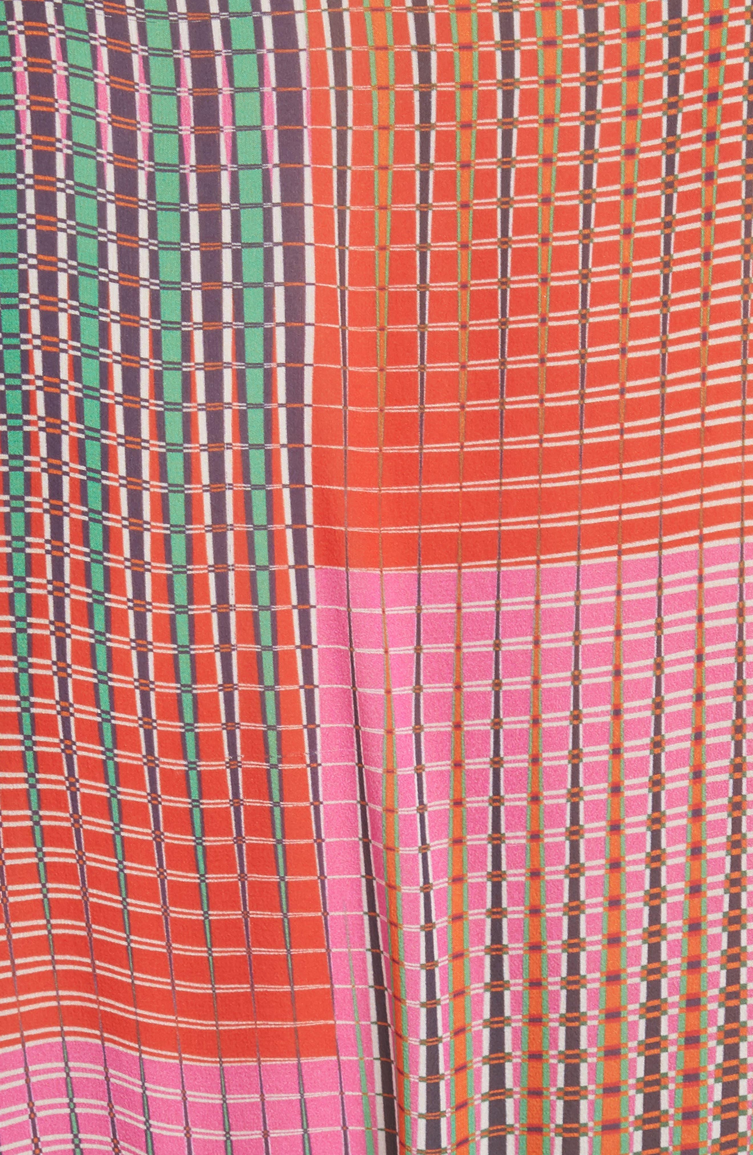 SALONI, Raquel Belted Silk Midi Dress, Alternate thumbnail 5, color, EMERALD ILLUSION
