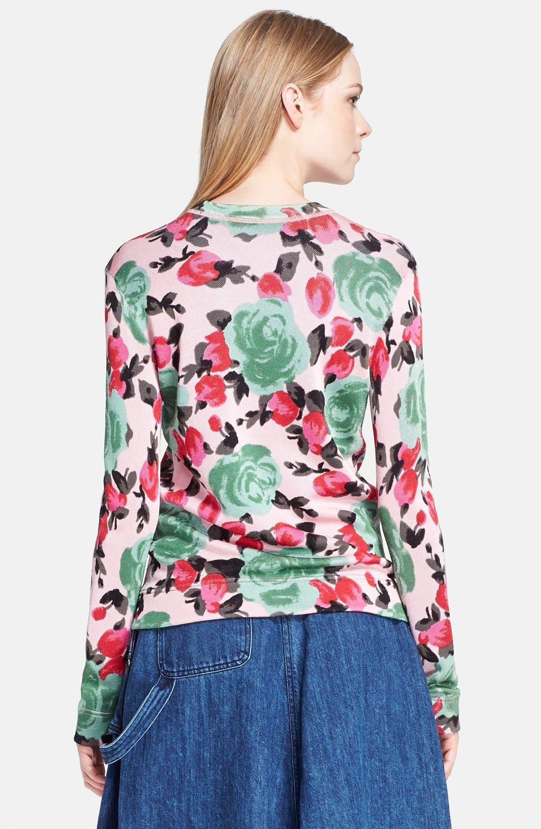 MARC BY MARC JACOBS, 'Jerrie Rose' Floral Print Crewneck Sweatshirt, Alternate thumbnail 3, color, 681