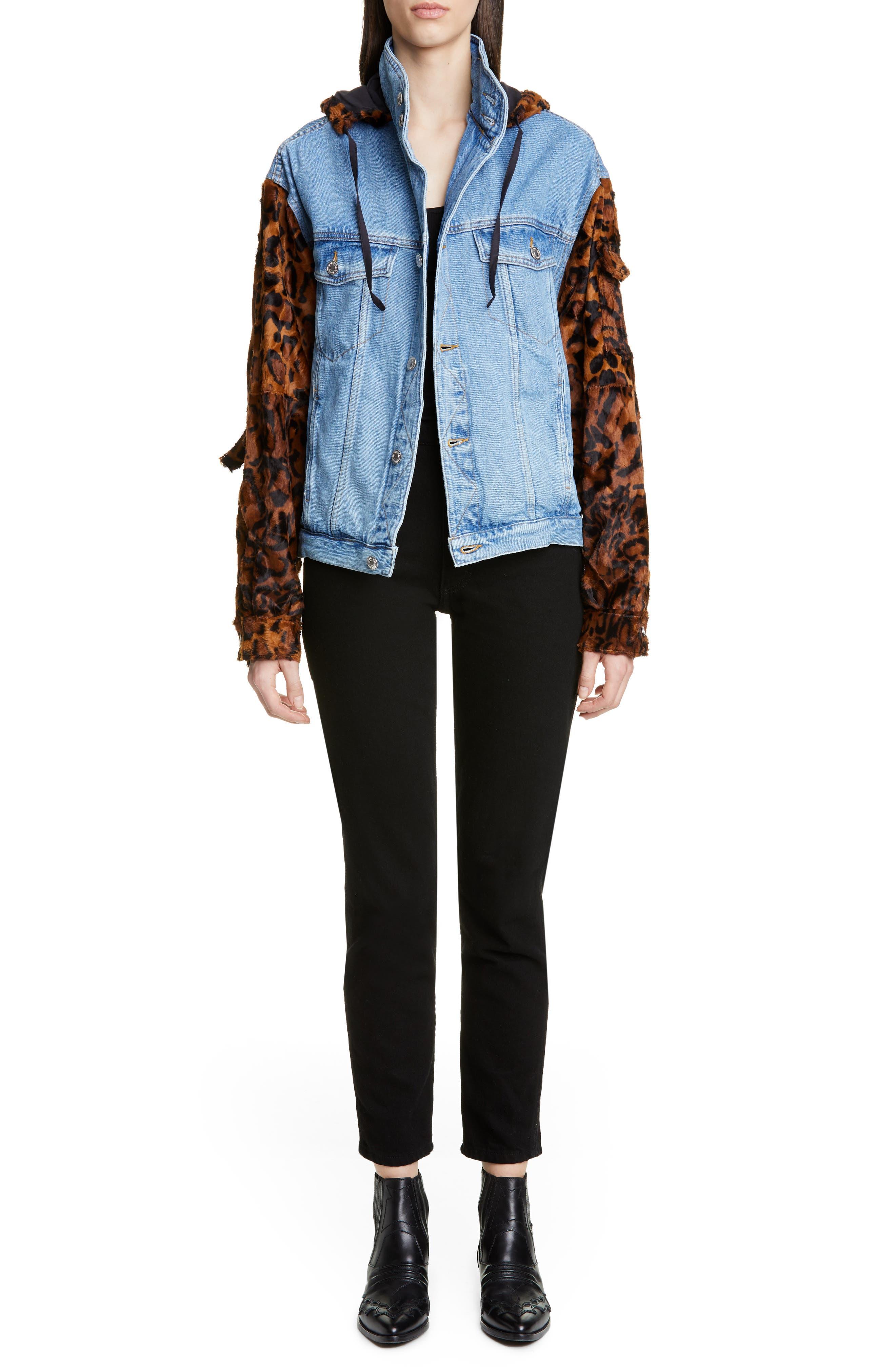 MARTINE ROSE, Leopard Hooded Denim Jacket, Alternate thumbnail 8, color, LIGHT DENIM DARK