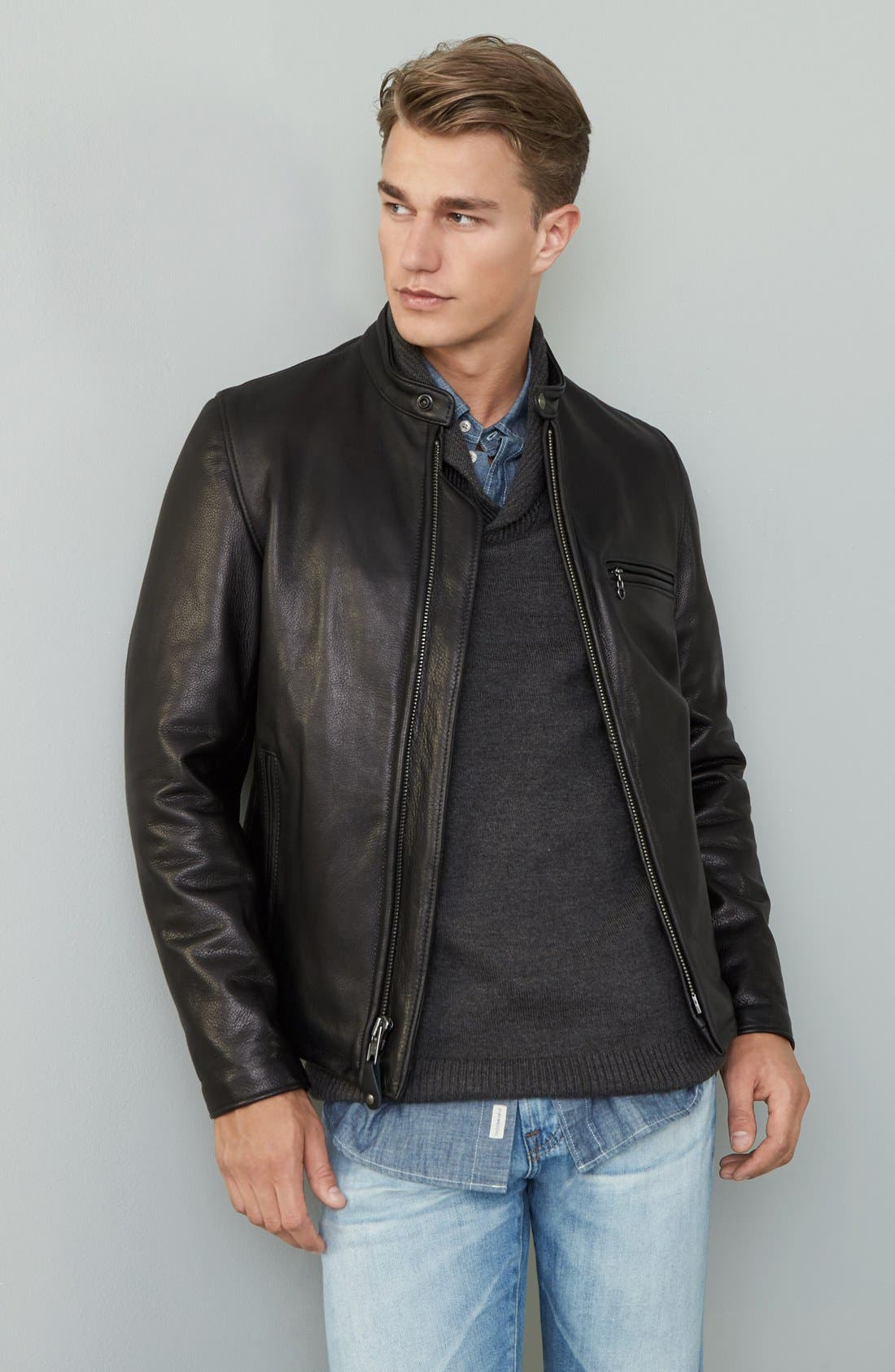SCHOTT NYC, Café Racer Oil Tanned Cowhide Leather Moto Jacket, Alternate thumbnail 2, color, BLACK