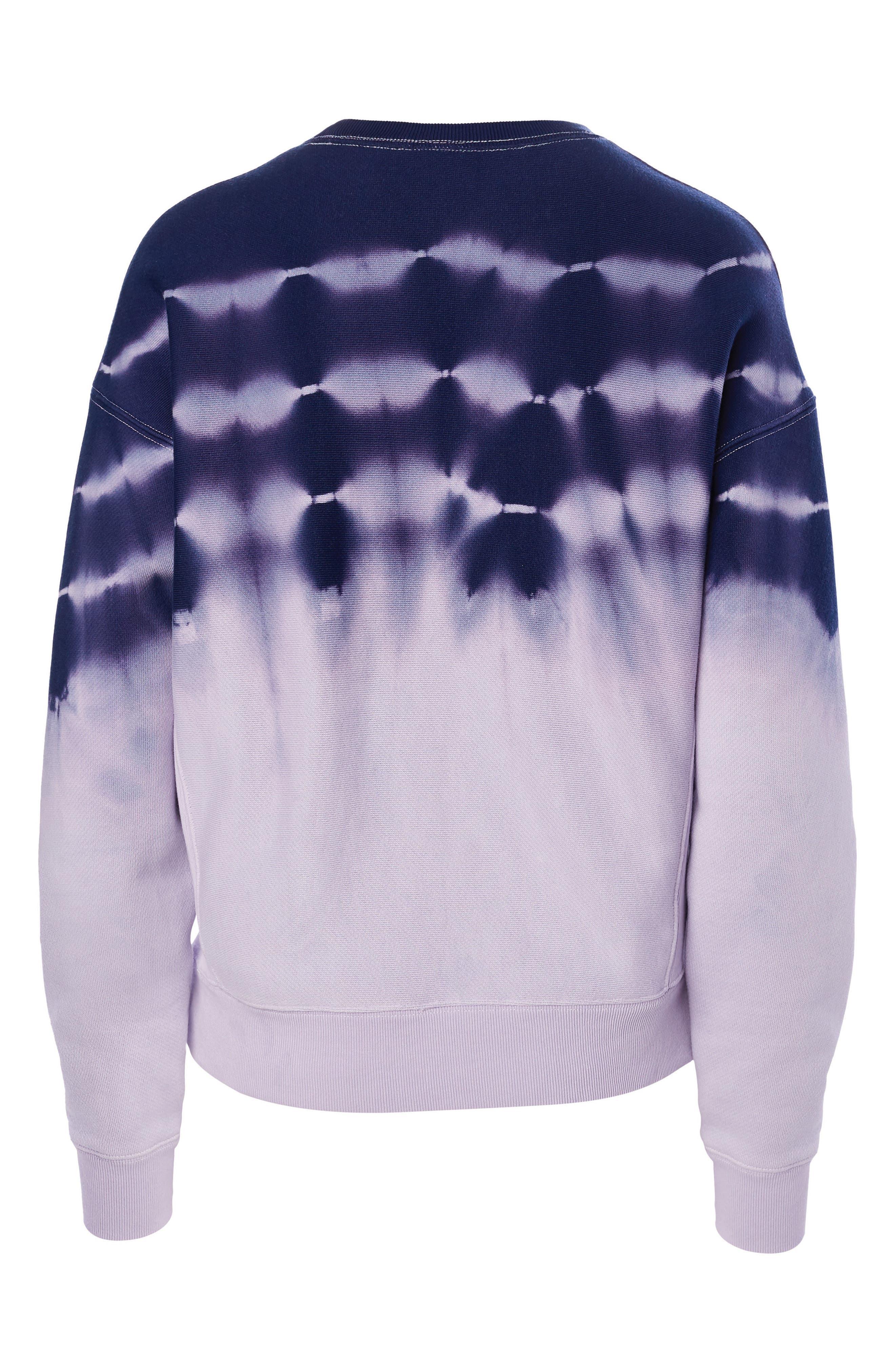 CHAMPION, Streak Dye Sweatshirt, Alternate thumbnail 4, color, PALE VIOLET ROSE