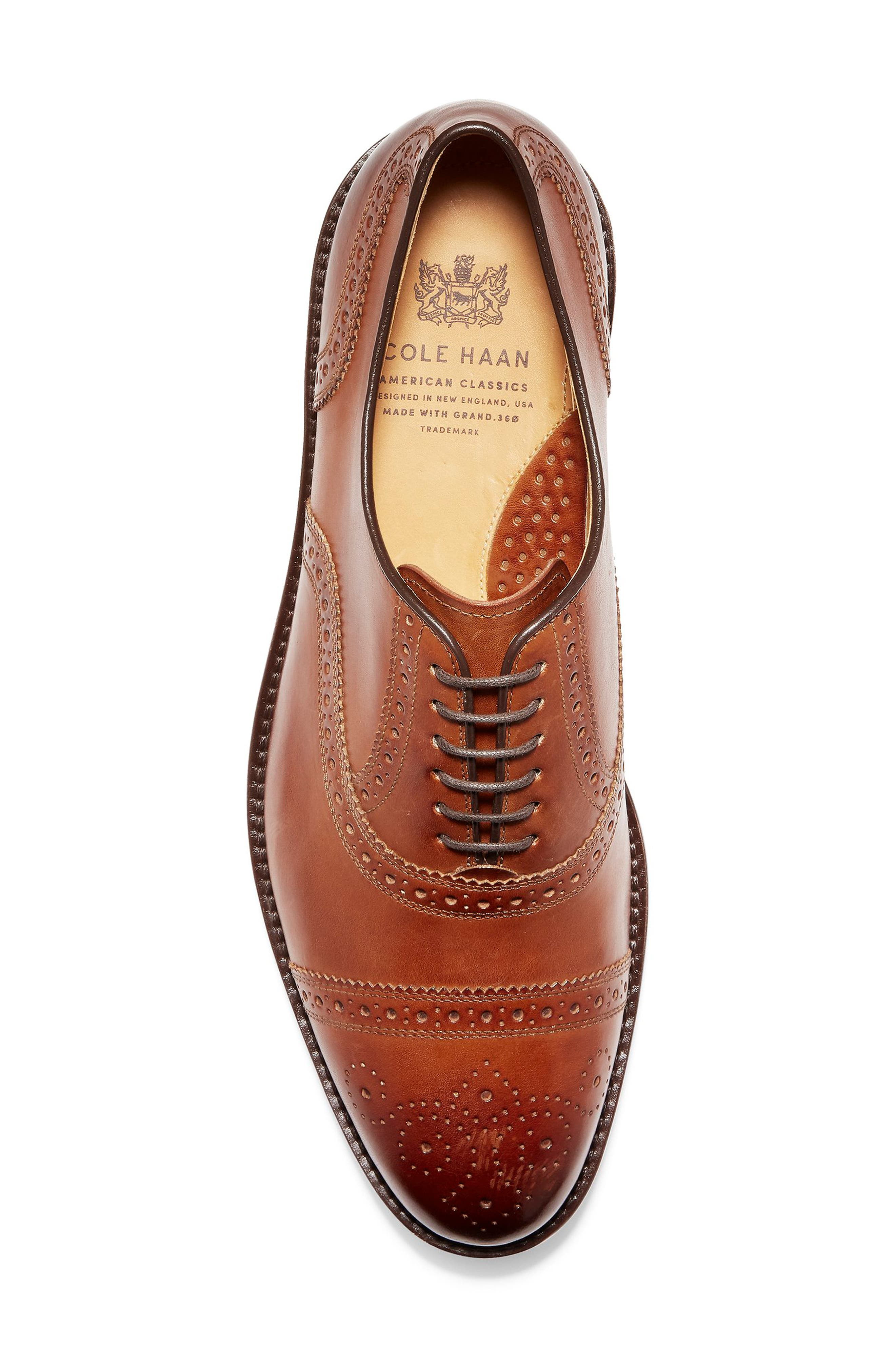 COLE HAAN, American Classics Kneeland Cap Toe Oxford, Alternate thumbnail 5, color, BRITISH TAN LEATHER