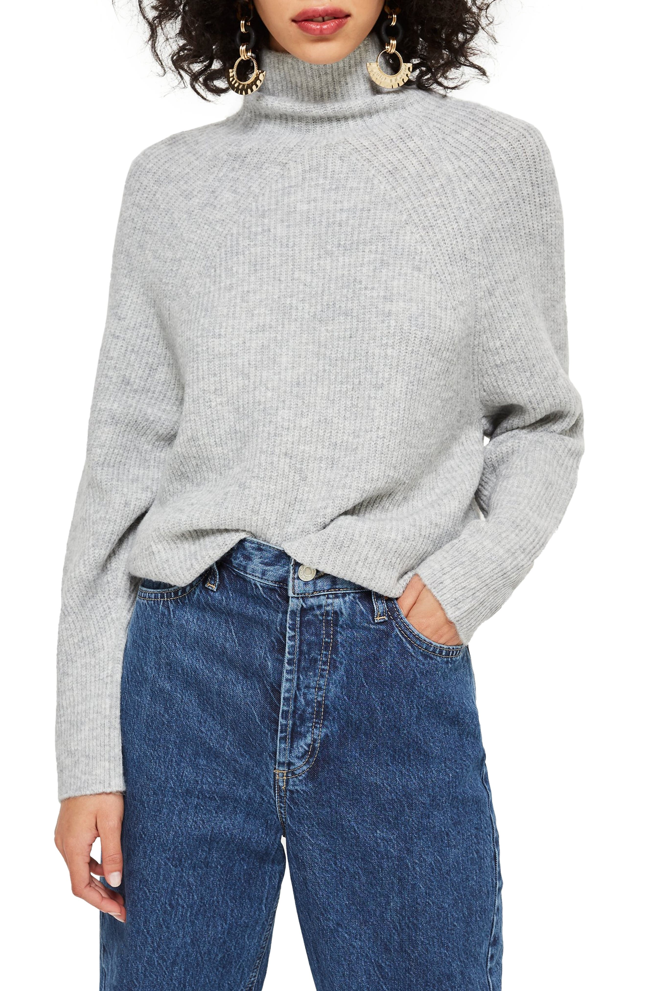 TOPSHOP, Raglan Turtleneck Neck Sweater, Main thumbnail 1, color, GREY MARL