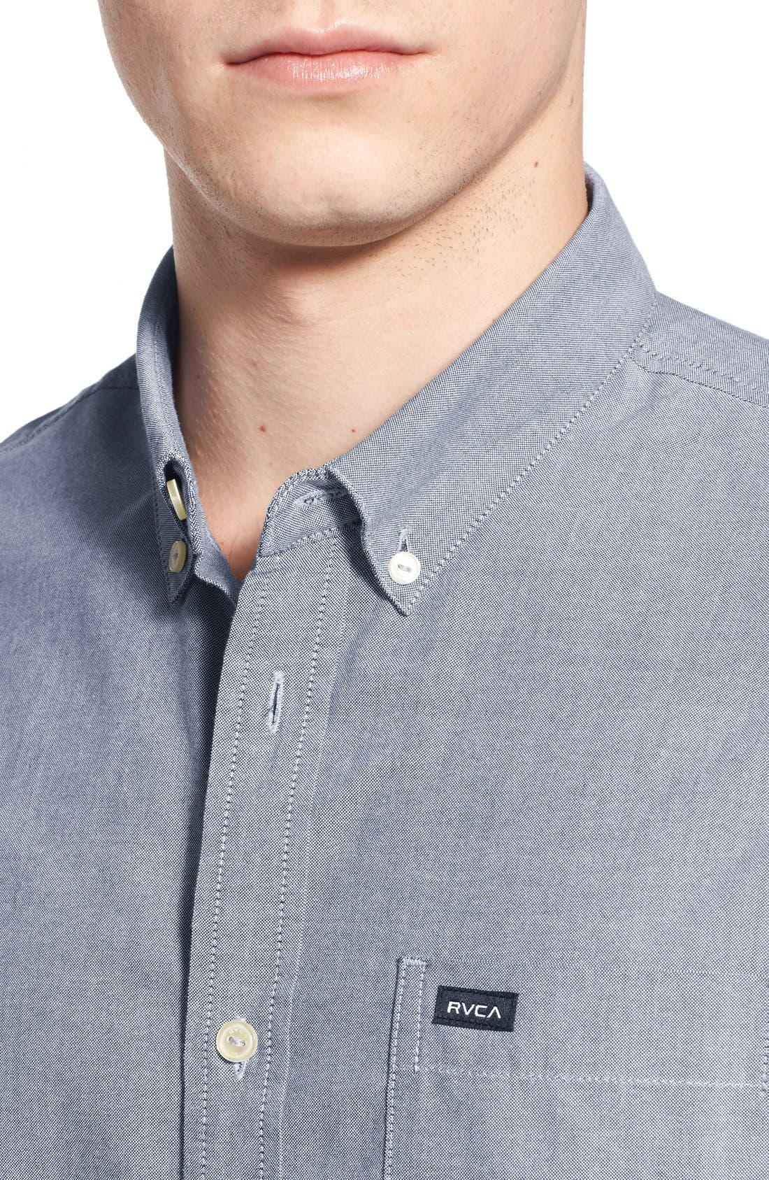 RVCA, 'That'll Do' Slim Fit Short Sleeve Oxford Shirt, Alternate thumbnail 2, color, DISTANT BLUE