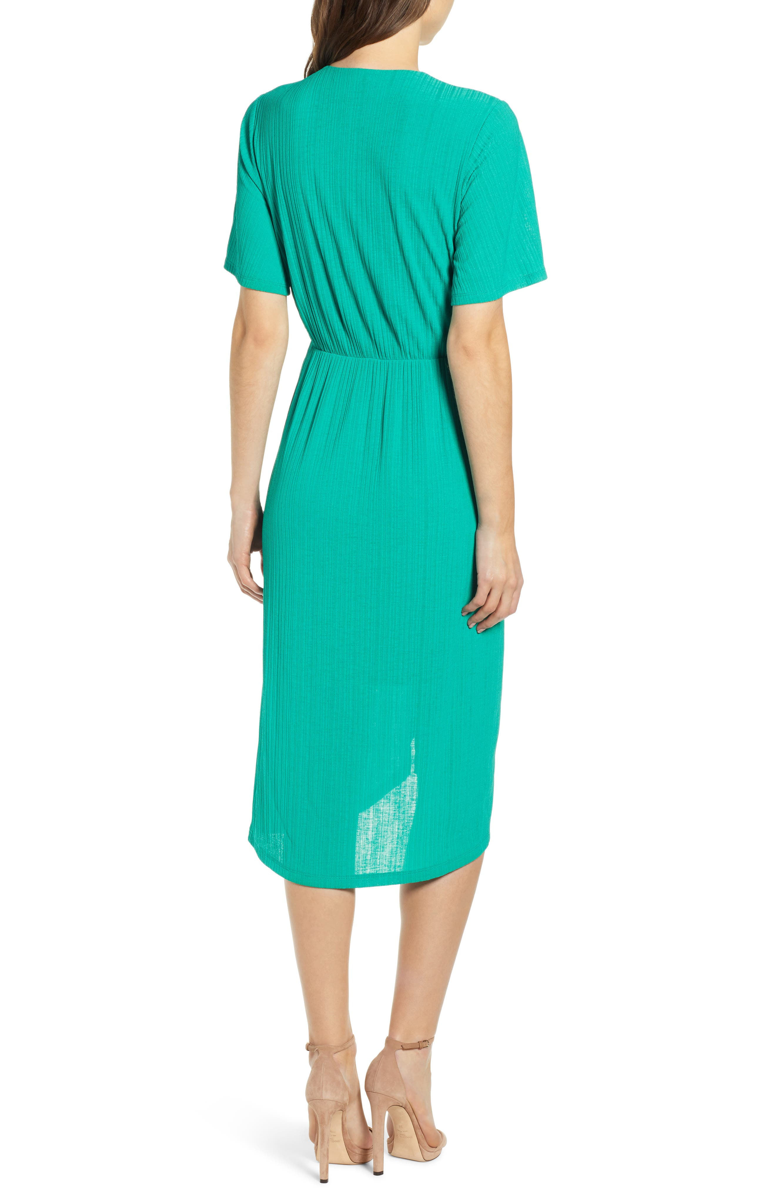 ALL IN FAVOR, Knot Front Midi Dress, Alternate thumbnail 2, color, PINE GREEN