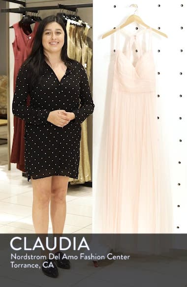 Crisscross Strap English Net A-Line Gown, sales video thumbnail