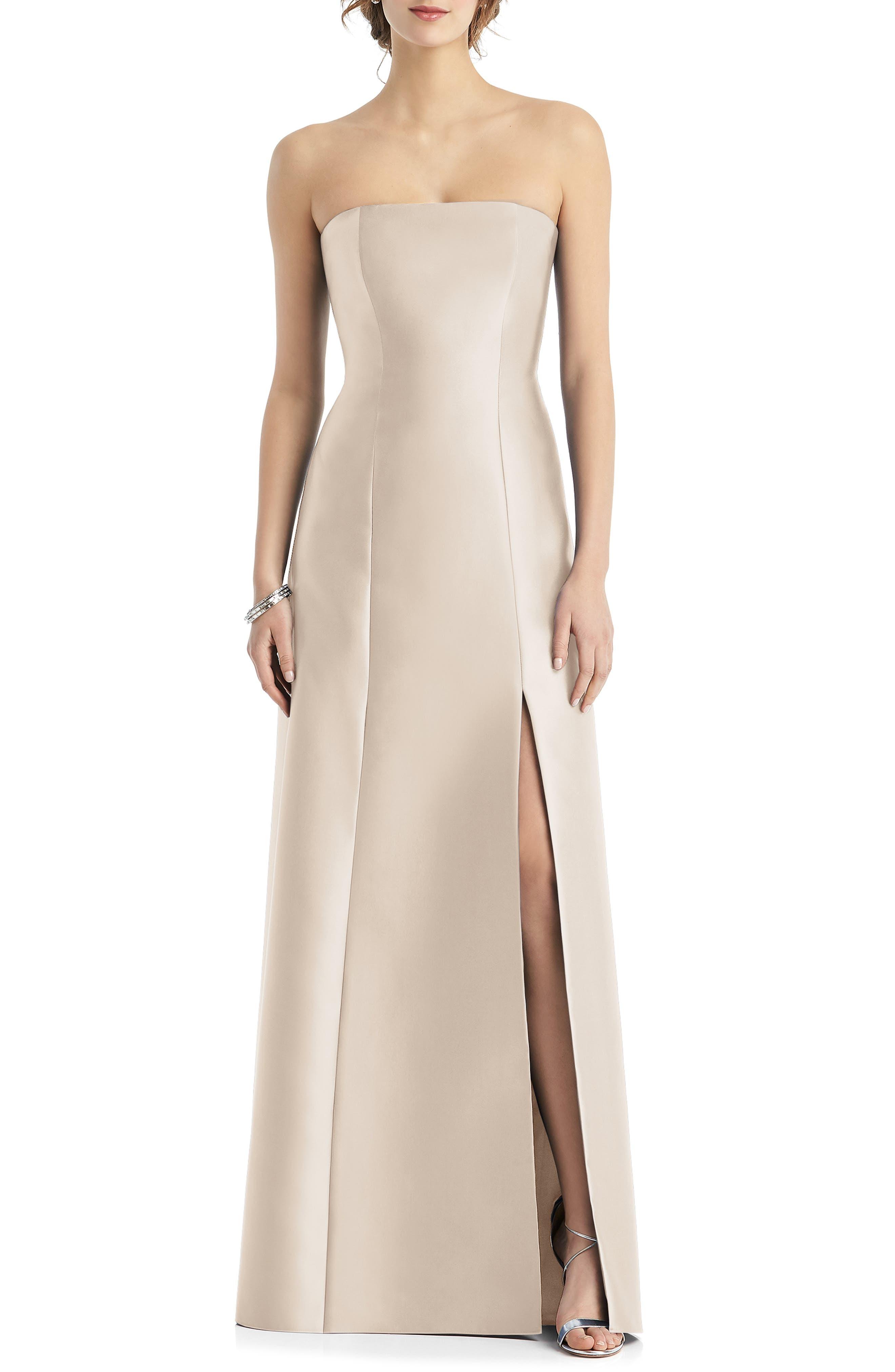 Alfred Sung Strapless Side Slit Satin Gown, Beige