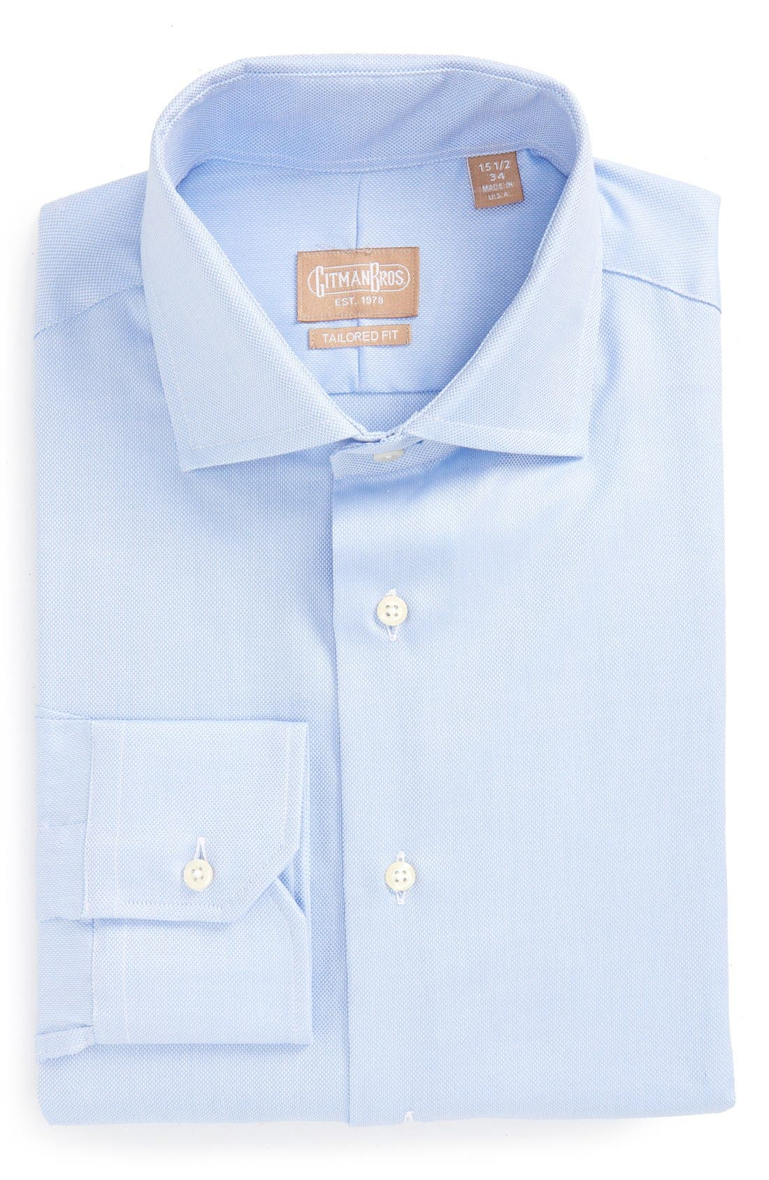 GITMAN, Royal Oxford Tailored Fit Dress Shirt, Alternate thumbnail 3, color, BLUE