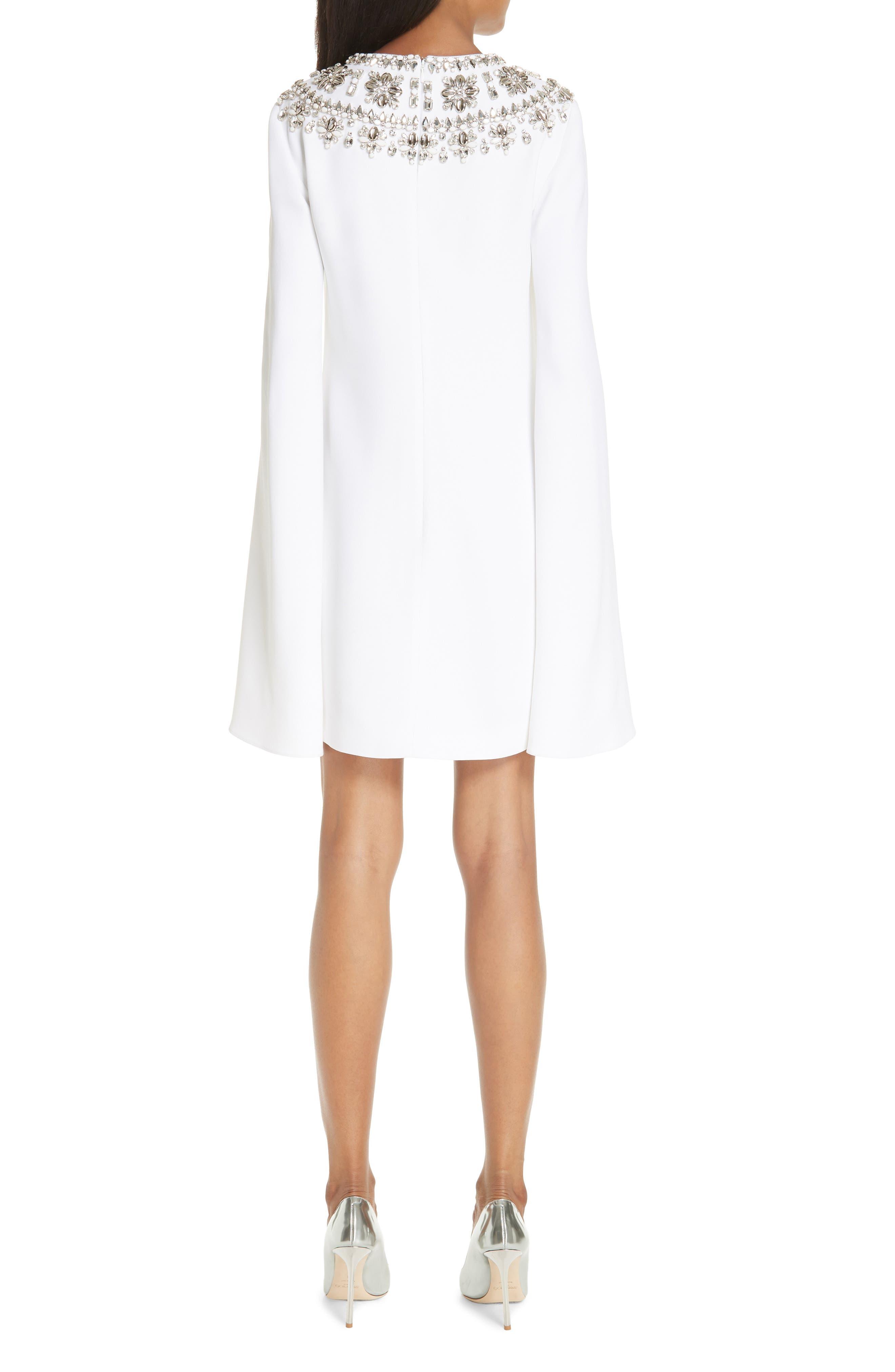 MICHAEL KORS, Crystal Embellished Split Sleeve Double Crepe Sable Dress, Alternate thumbnail 2, color, OPTIC WHITE W/ SILVER