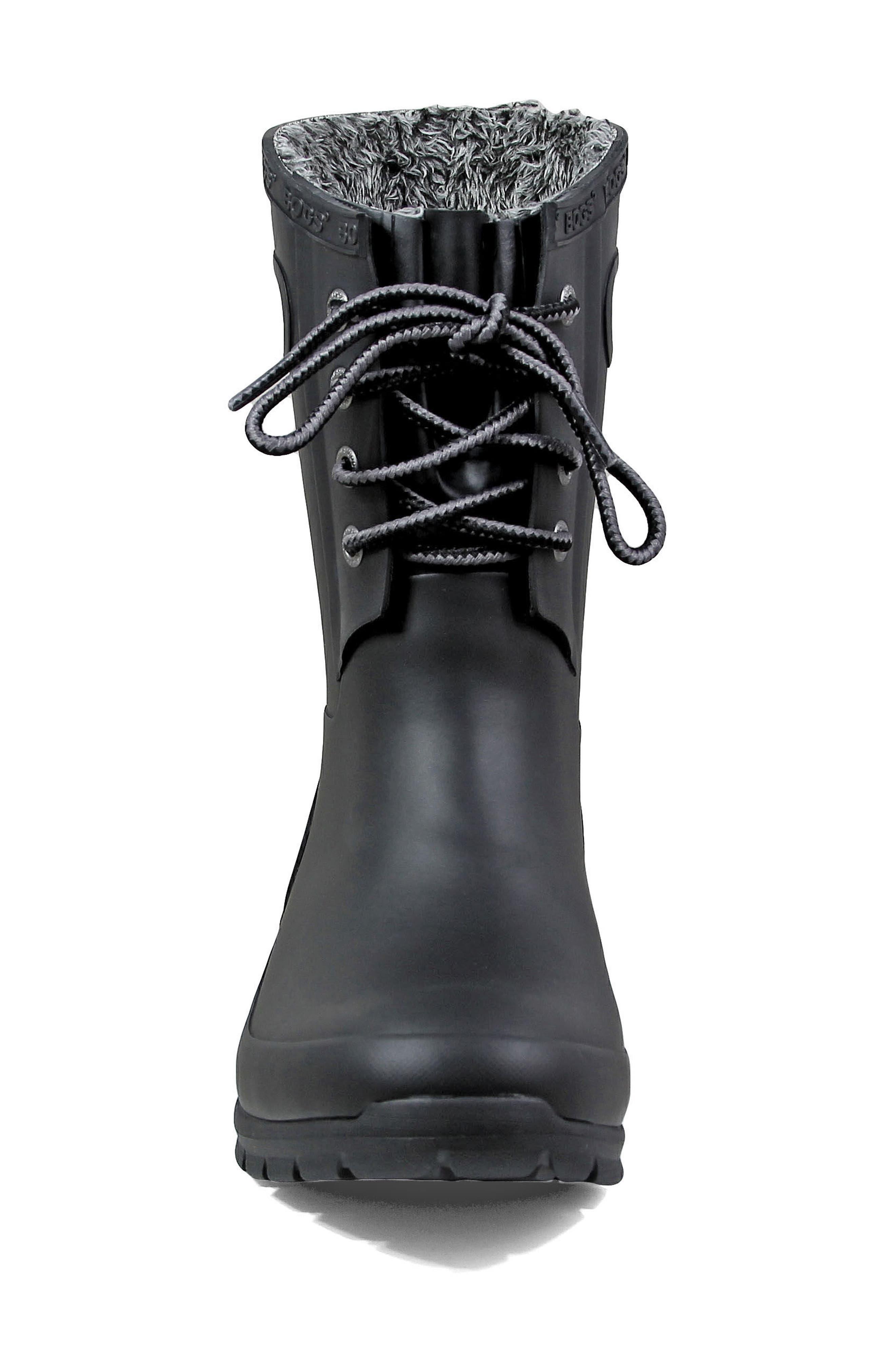 BOGS, Amanda Plush Waterproof Rain Boot, Alternate thumbnail 4, color, 001