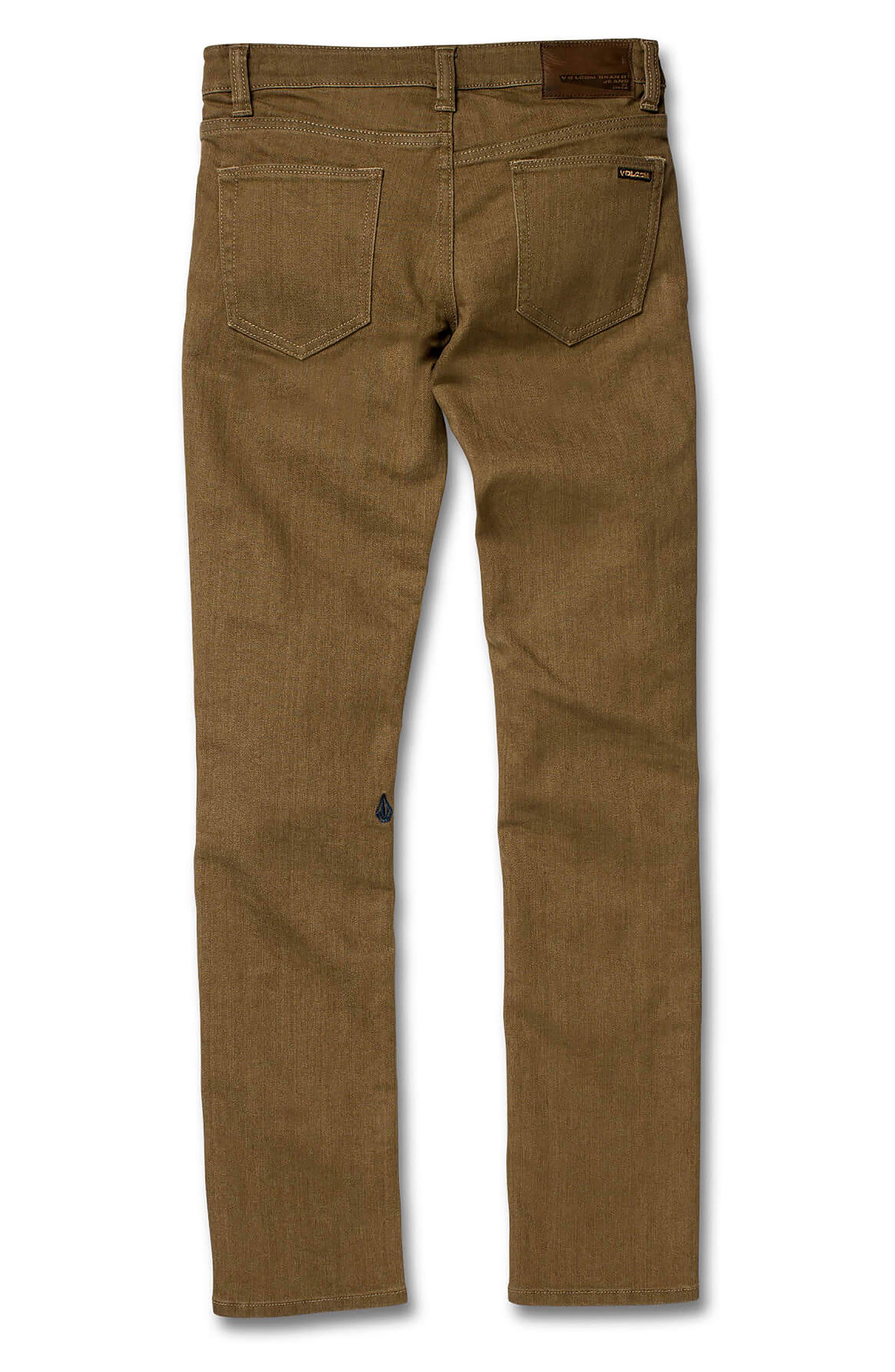 VOLCOM, '2x4' Skinny Jeans, Alternate thumbnail 2, color, WET SAND