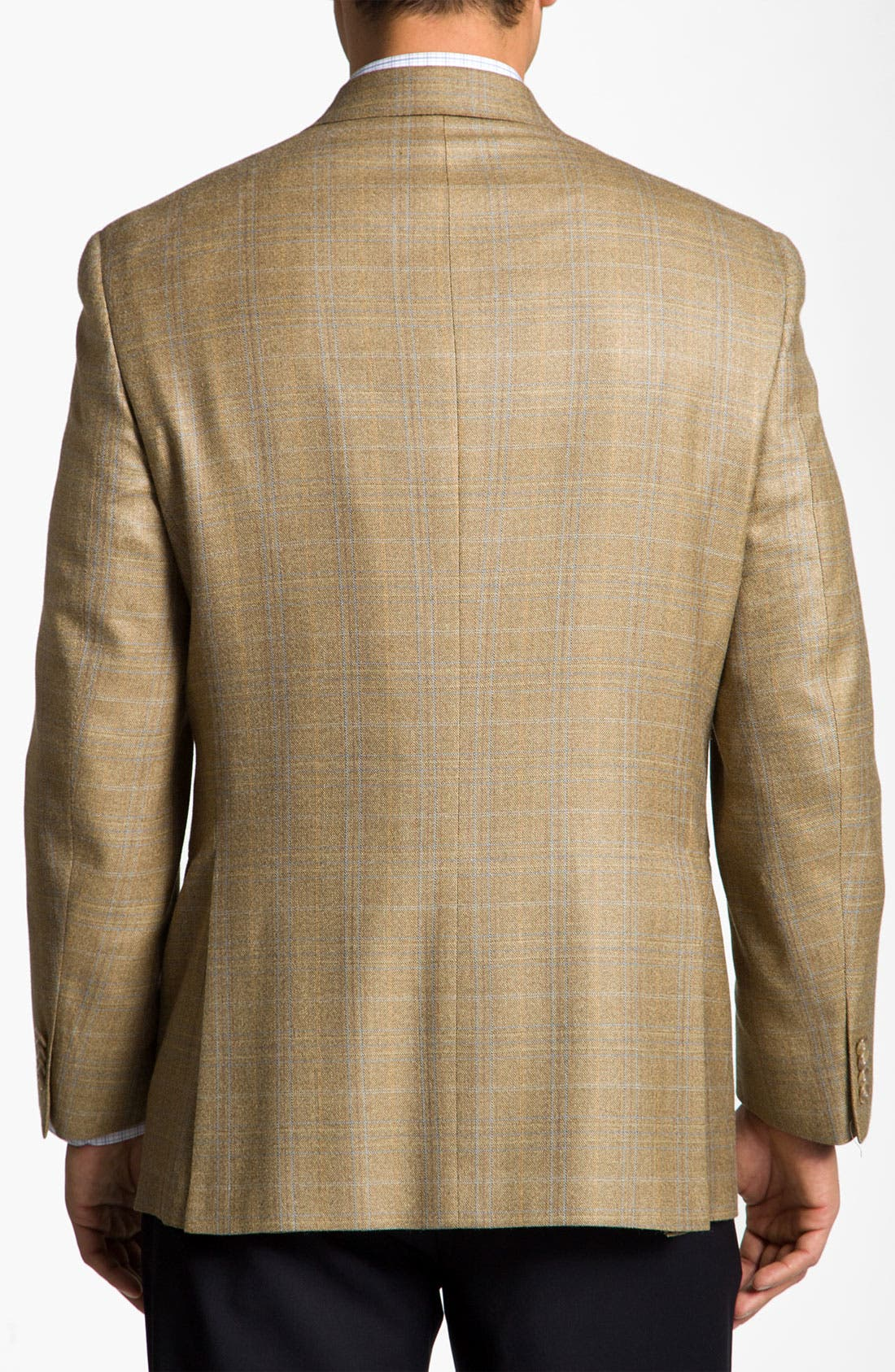 HART SCHAFFNER MARX, Brown Plaid Wool Sportcoat, Alternate thumbnail 2, color, 230