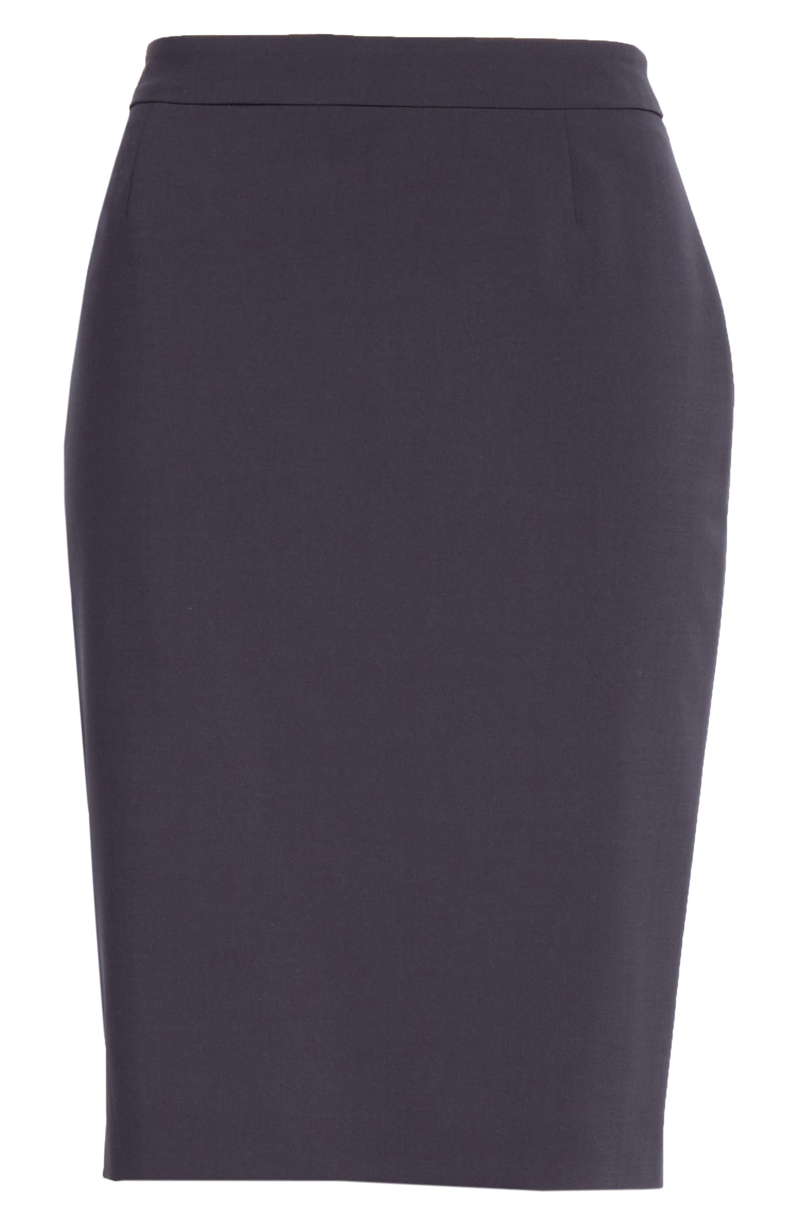 BOSS, Vilea Tropical Stretch Wool Pencil Skirt, Alternate thumbnail 6, color, NAVY