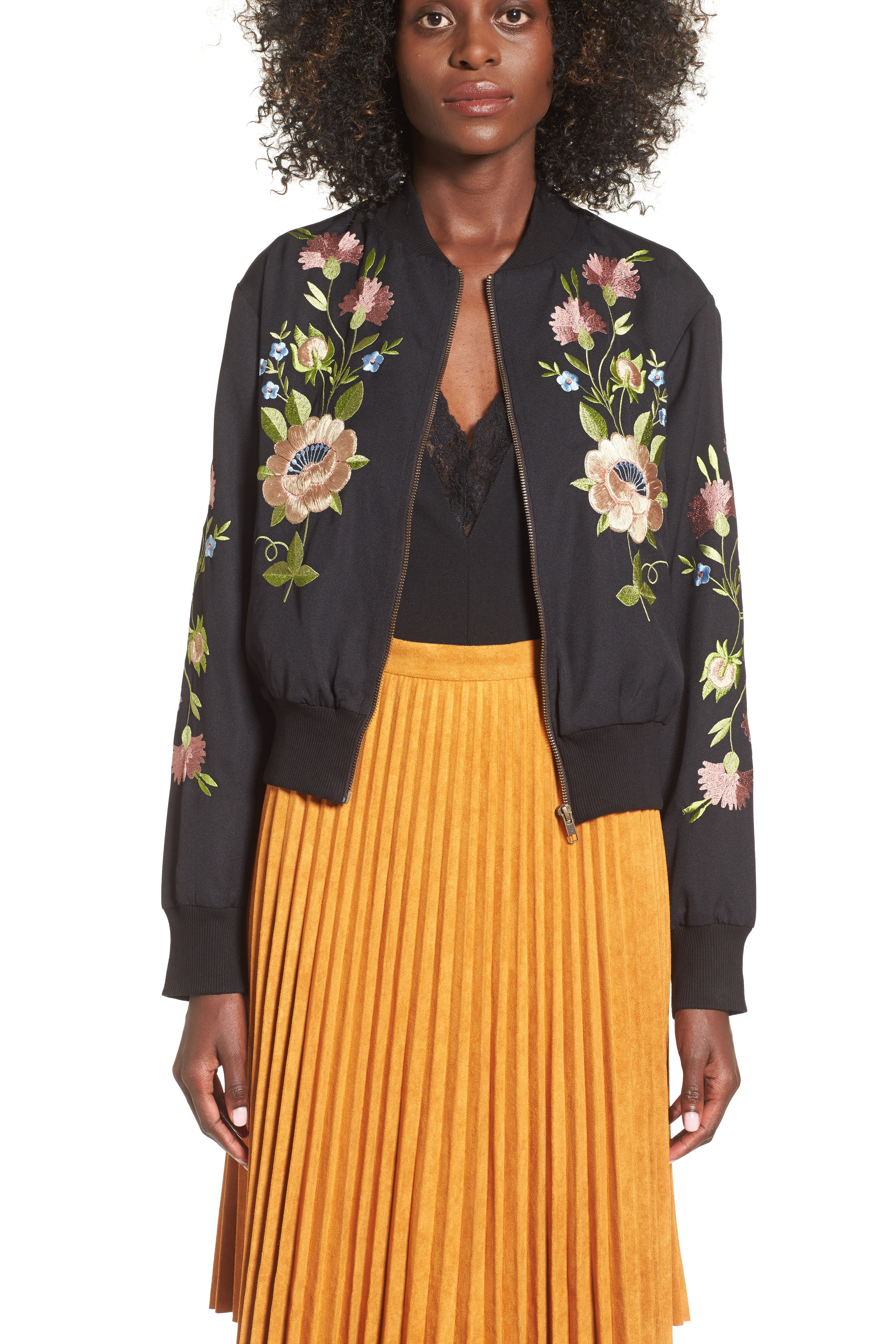 GLAMOROUS, Floral Embroidered Bomber Jacket, Alternate thumbnail 5, color, 001