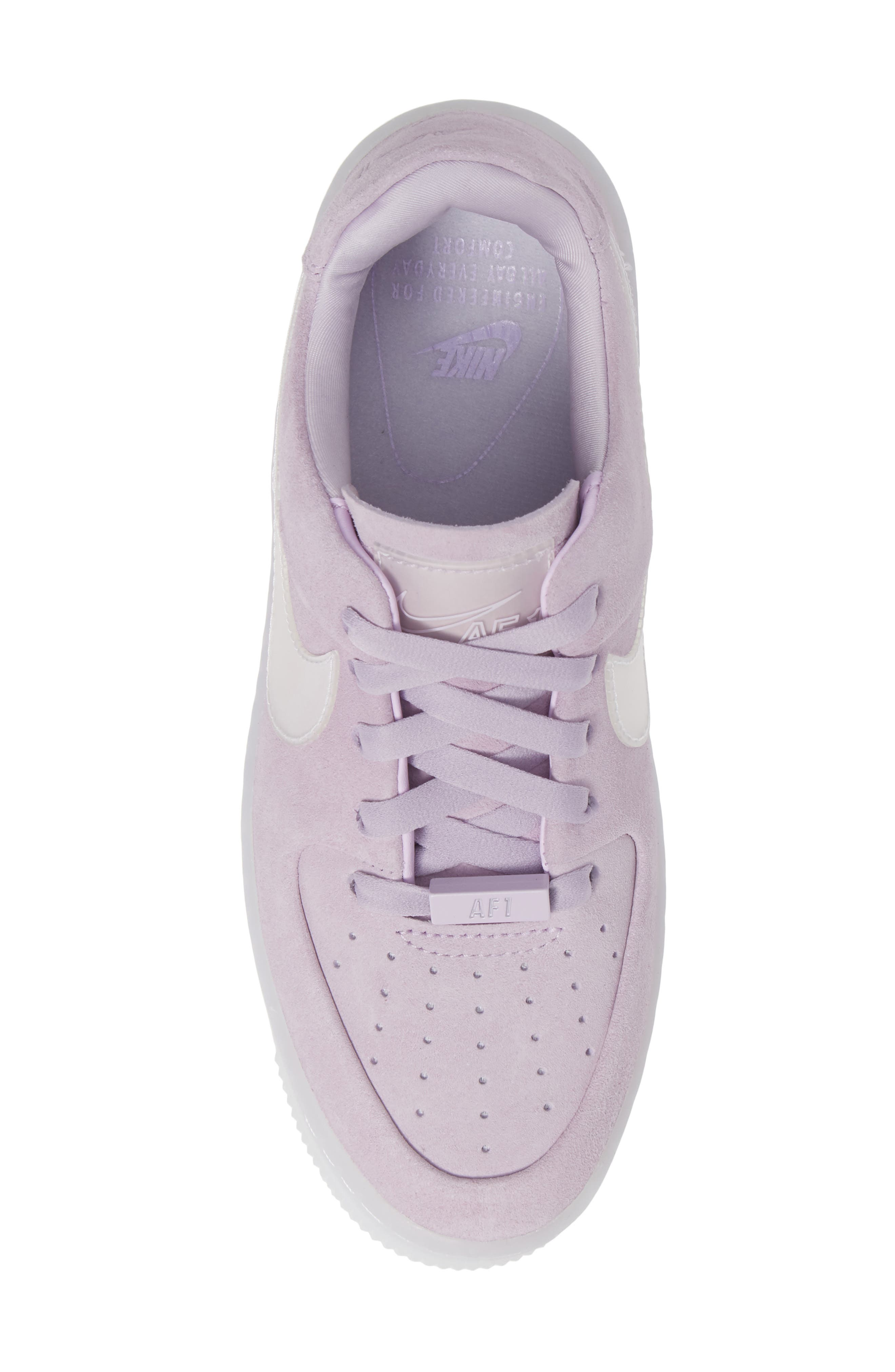 NIKE, Air Force 1 Sage Low Platform Sneaker, Alternate thumbnail 5, color, VIOLET MIST/ VIOLET MIST