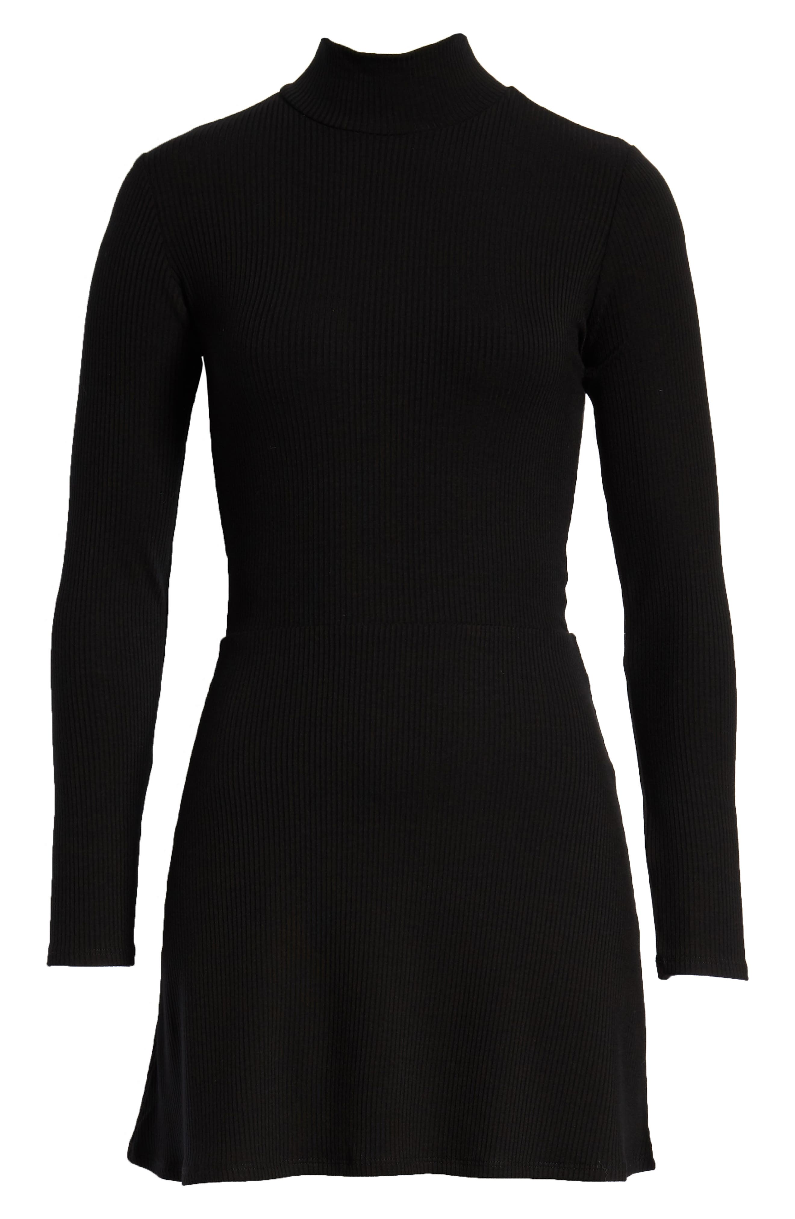 REFORMATION, Maya Turtleneck Body-Con Dress, Alternate thumbnail 6, color, BLACK