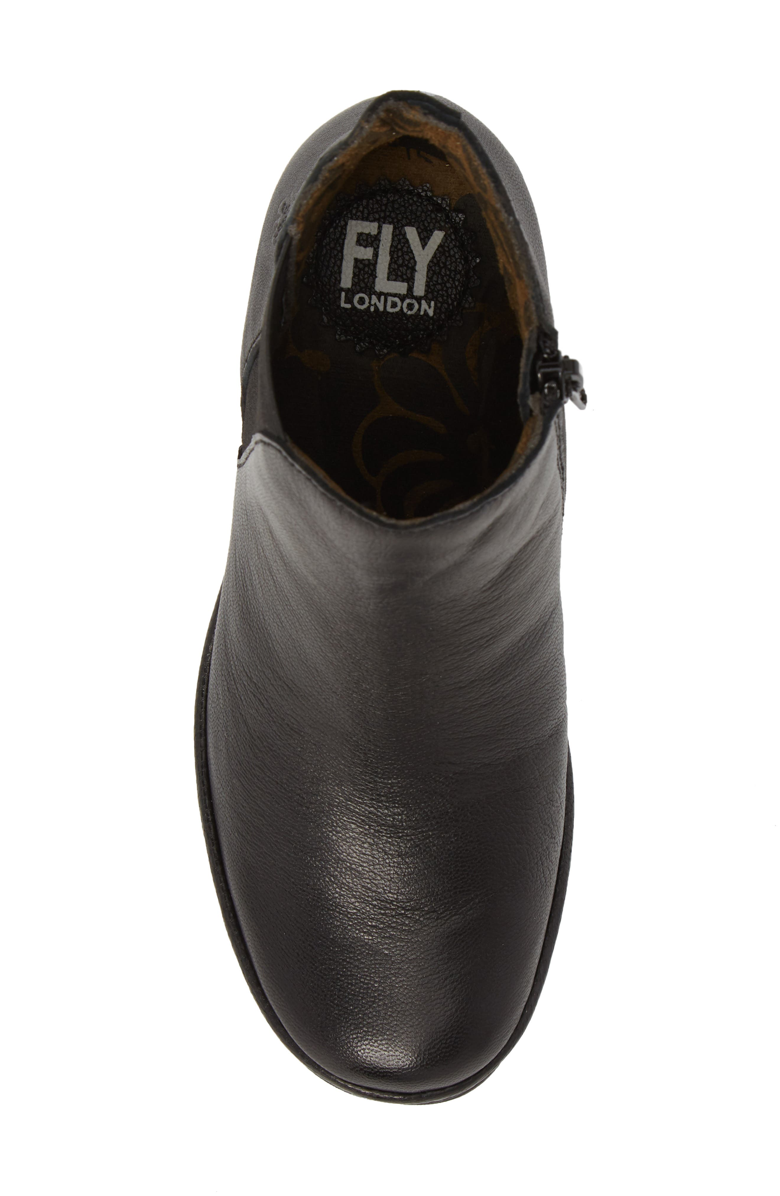 FLY LONDON, Yozo Wedge Boot, Alternate thumbnail 5, color, BLACK