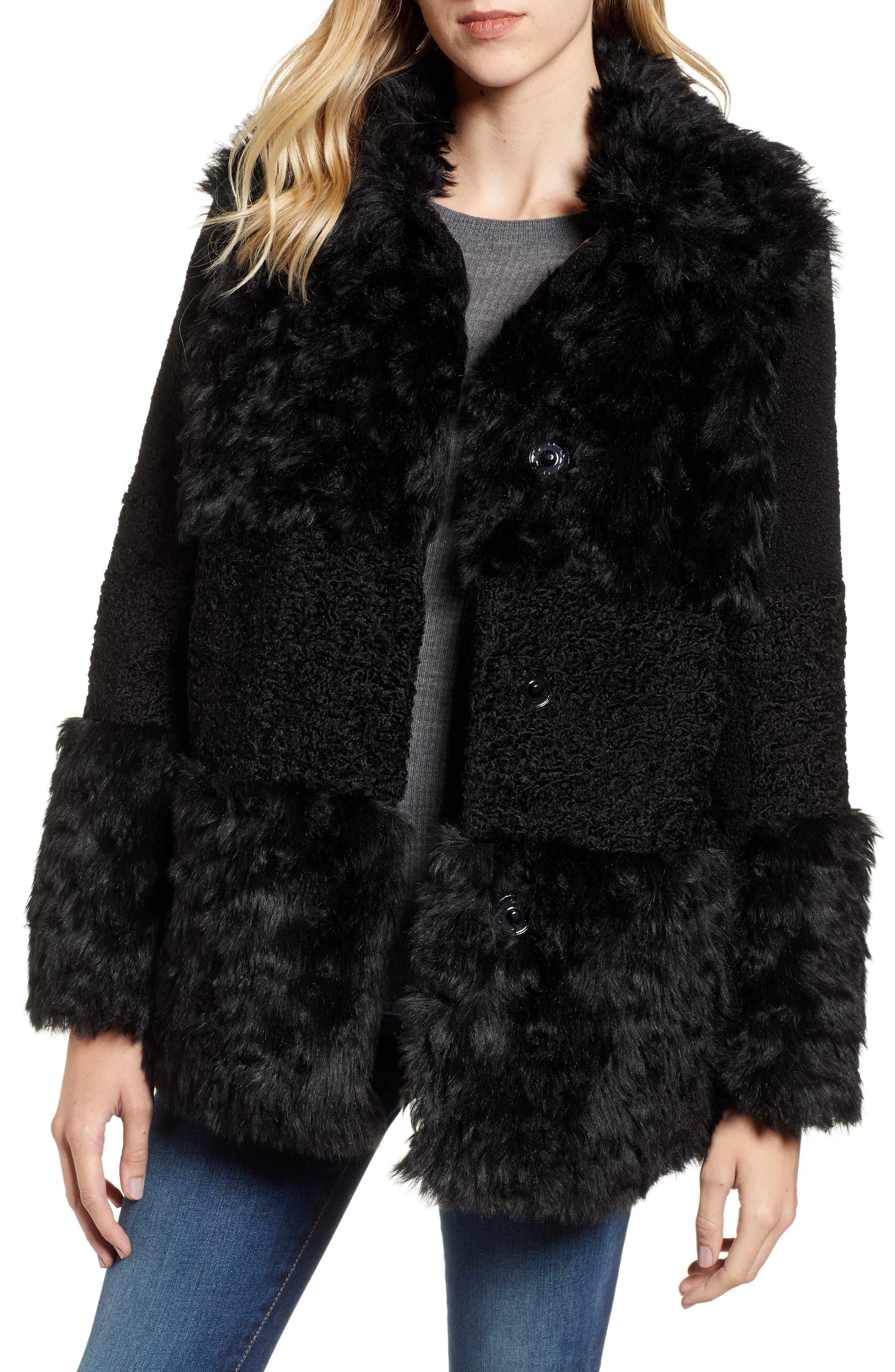 KENSIE, Faux Fur Patchwork Coat, Main thumbnail 1, color, 001