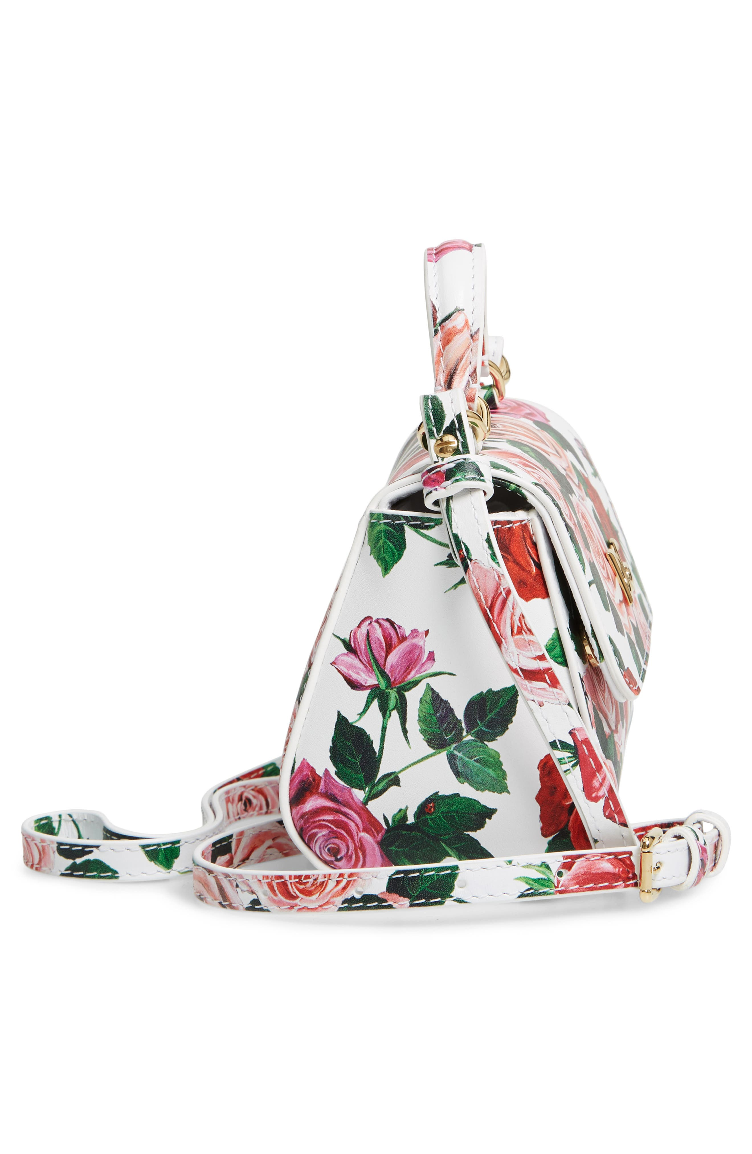 DOLCE&GABBANA, Floral Print Handbag, Alternate thumbnail 4, color, MIX ROSE FDO BCO NAT