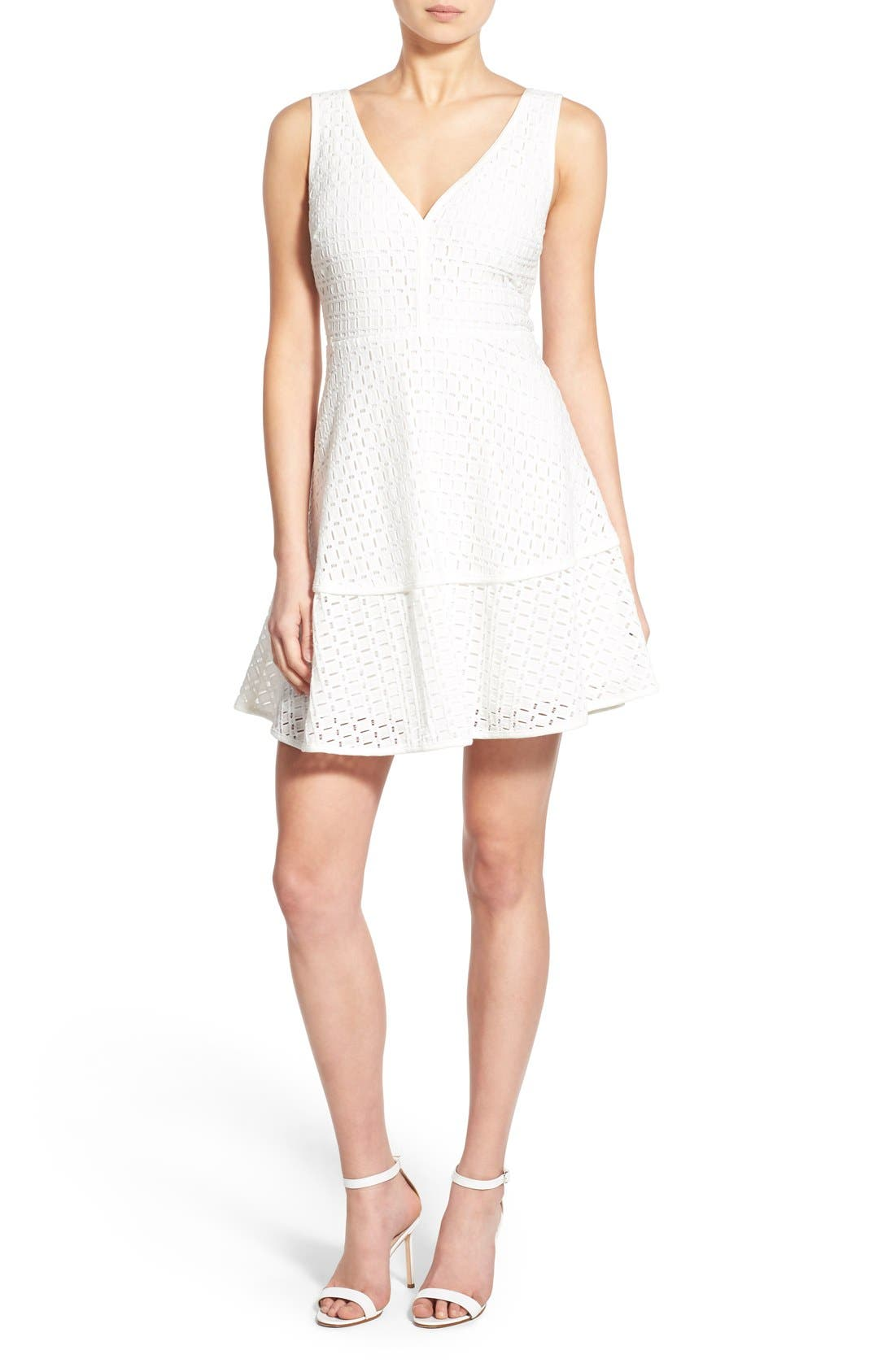 CUPCAKES AND CASHMERE, 'Matilda' Eyelet Fit & Flare Dress, Main thumbnail 1, color, 101