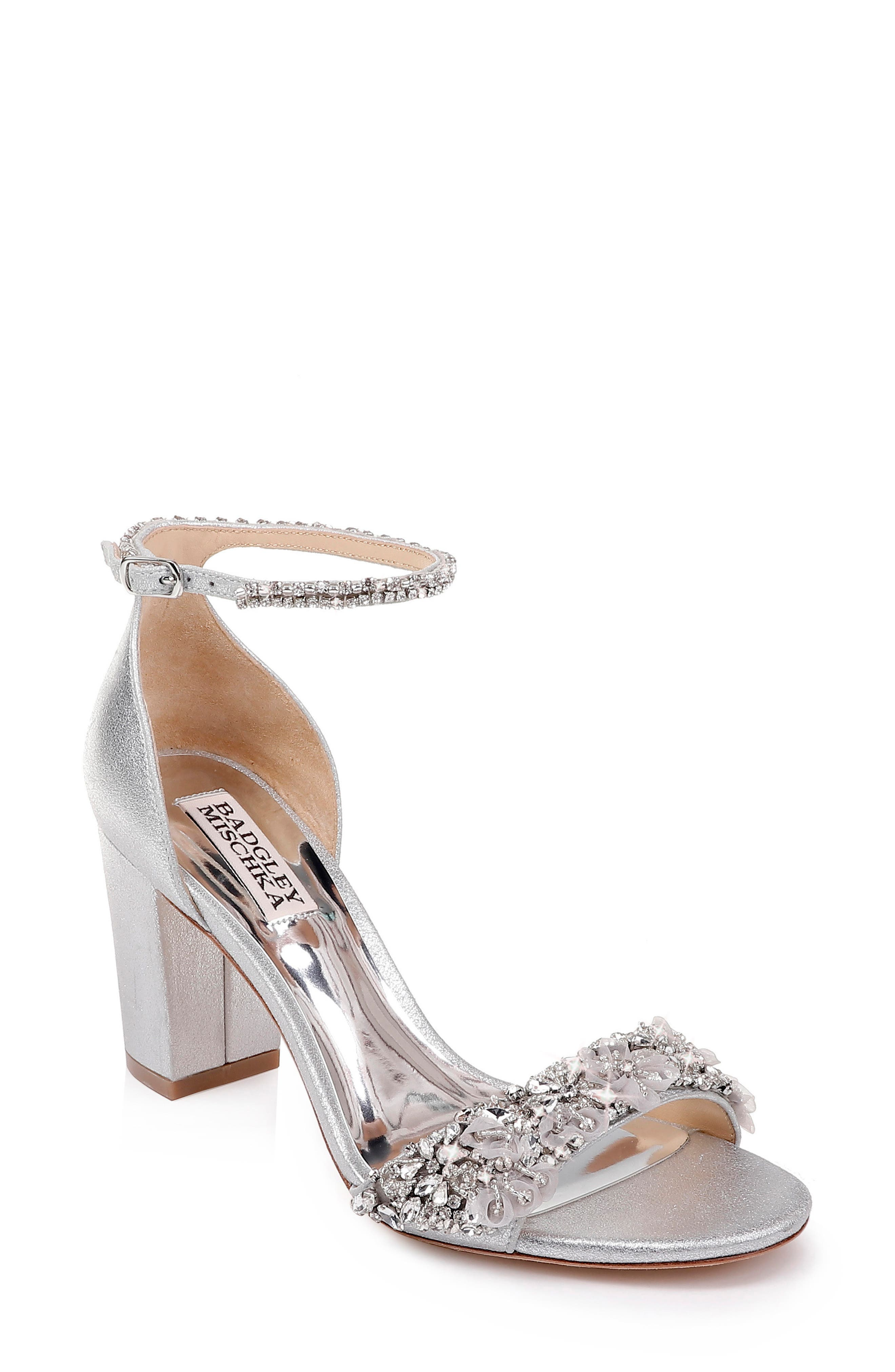 BADGLEY MISCHKA COLLECTION Badgley Mischka Finesse Embellished Ankle Strap Sandal, Main, color, SILVER METALLIC SATIN