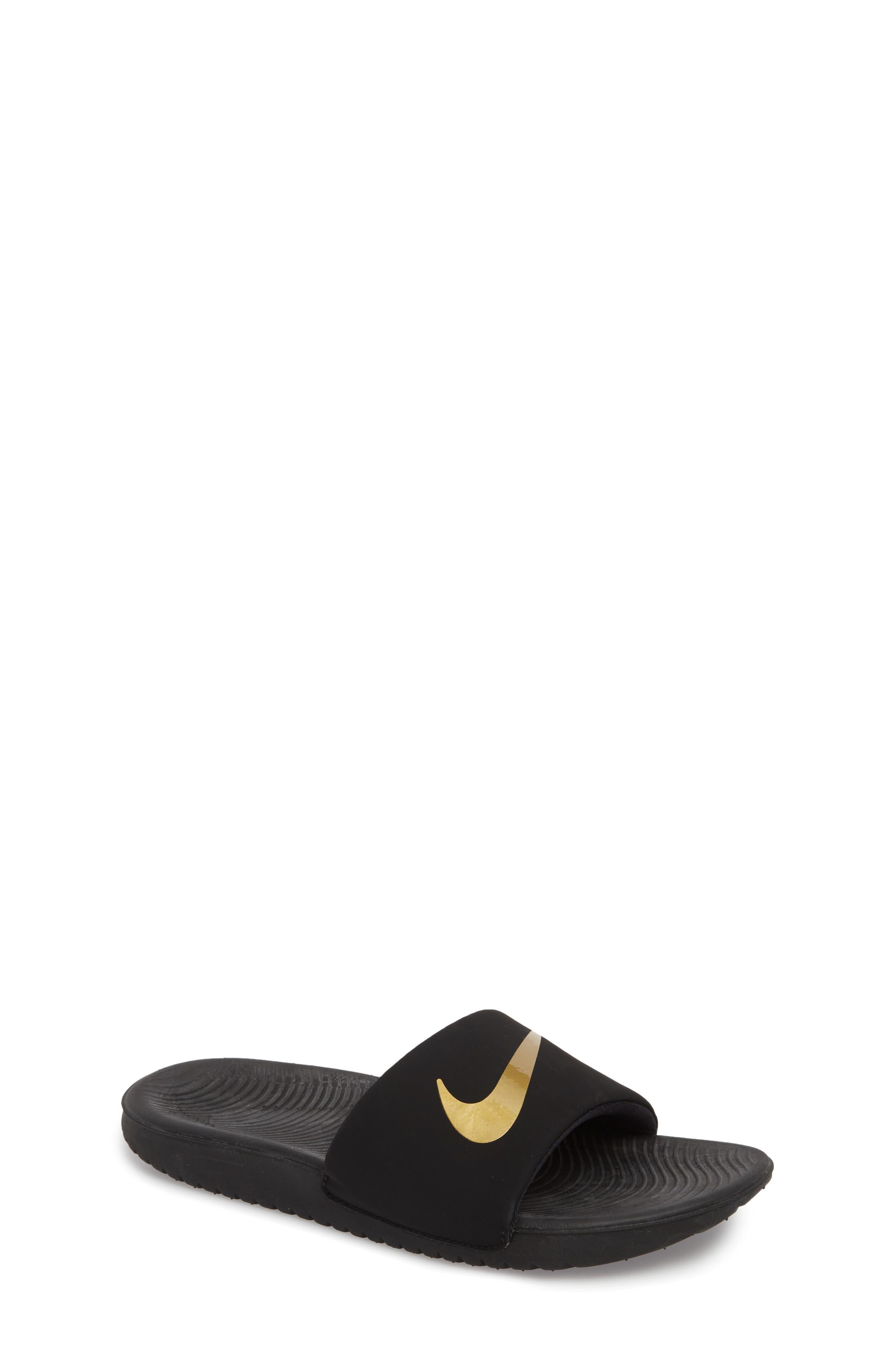 NIKE, 'Kawa' Slide Sandal, Main thumbnail 1, color, BLACK/ METALLIC GOLD