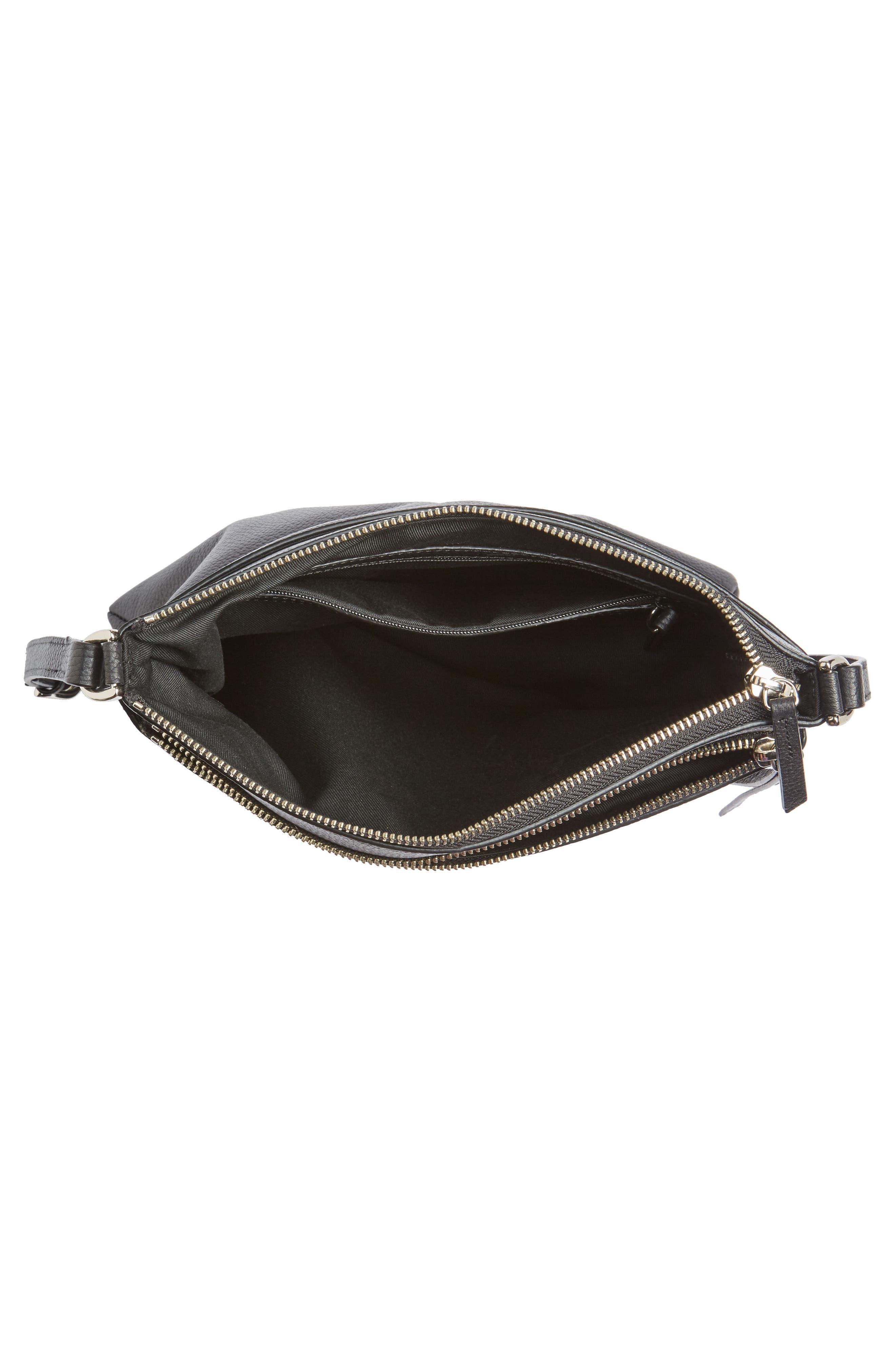NORDSTROM, Finn Leather Crossbody Bag, Alternate thumbnail 5, color, BLACK