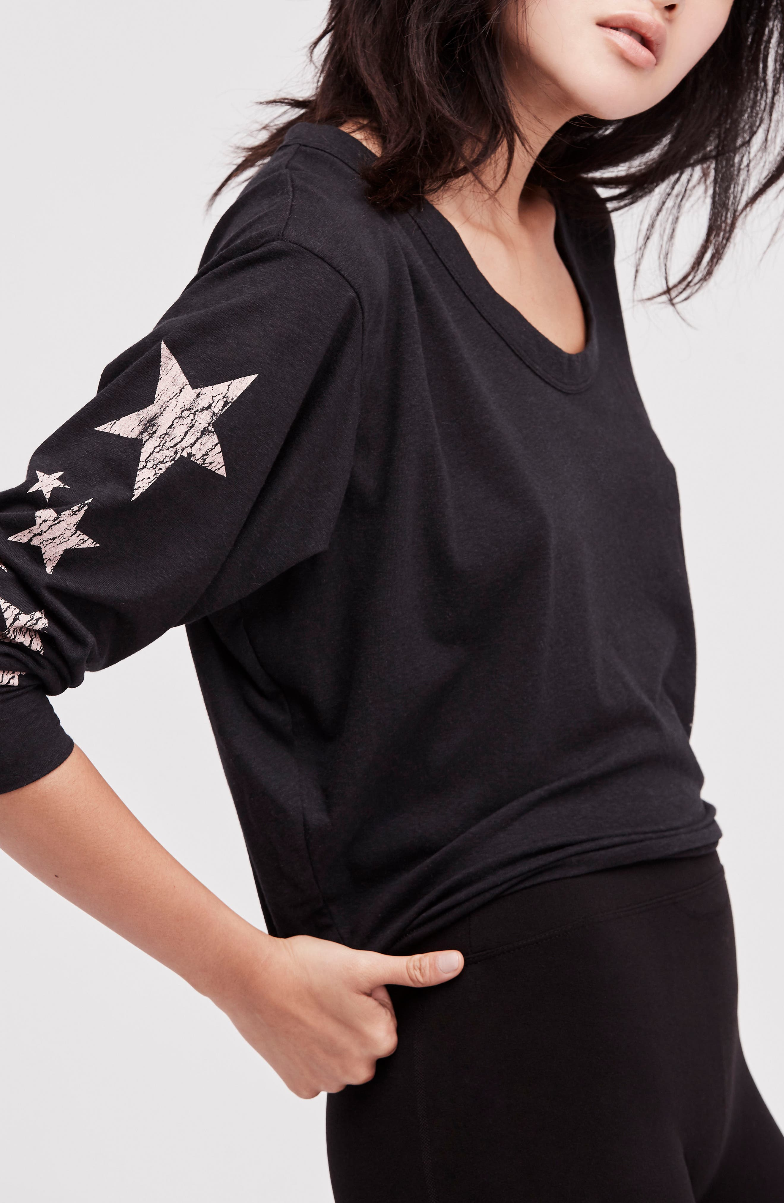 FREE PEOPLE MOVEMENT, Melrose Star Graphic Top, Alternate thumbnail 7, color, 001