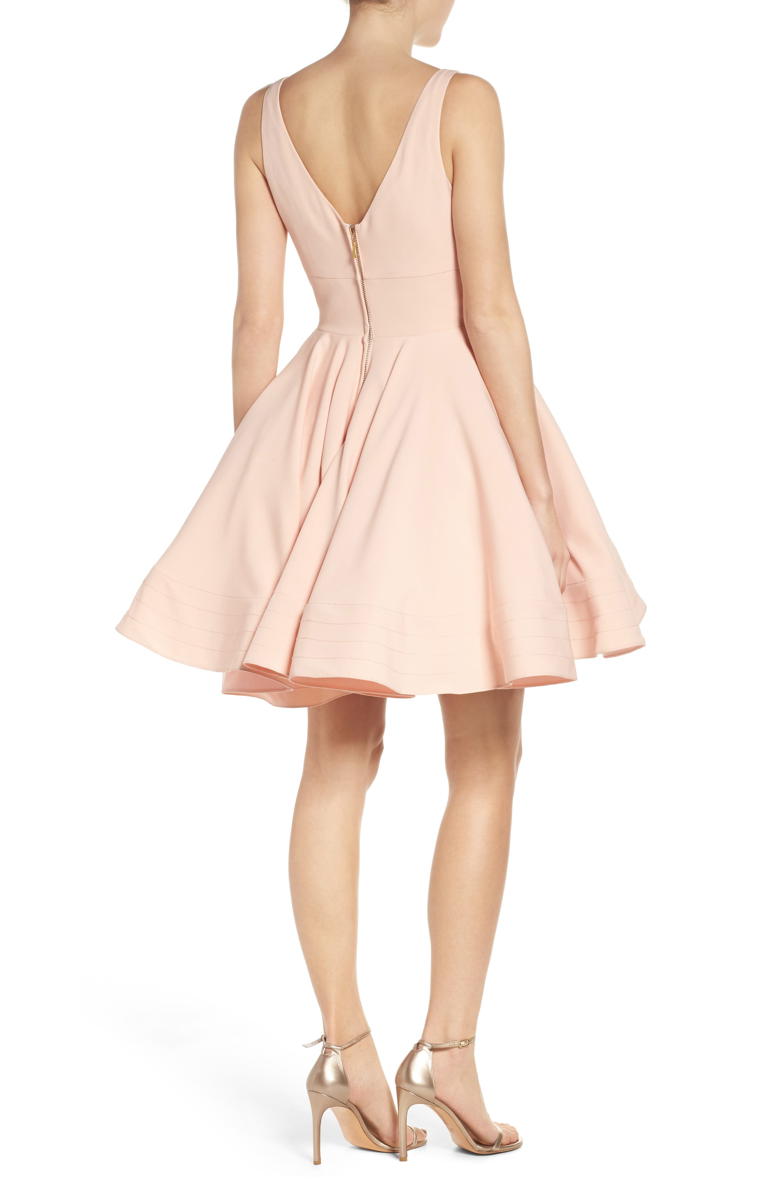 IEENA FOR MAC DUGGAL, Double V-Neck Fit & Flare Party Dress, Alternate thumbnail 2, color, BLUSH