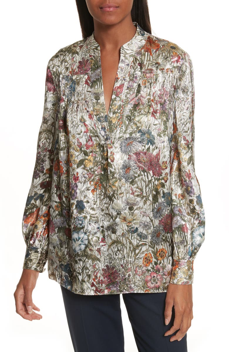 TORY BURCH Heidi Metallic Floral Blouse, Main, color, 699