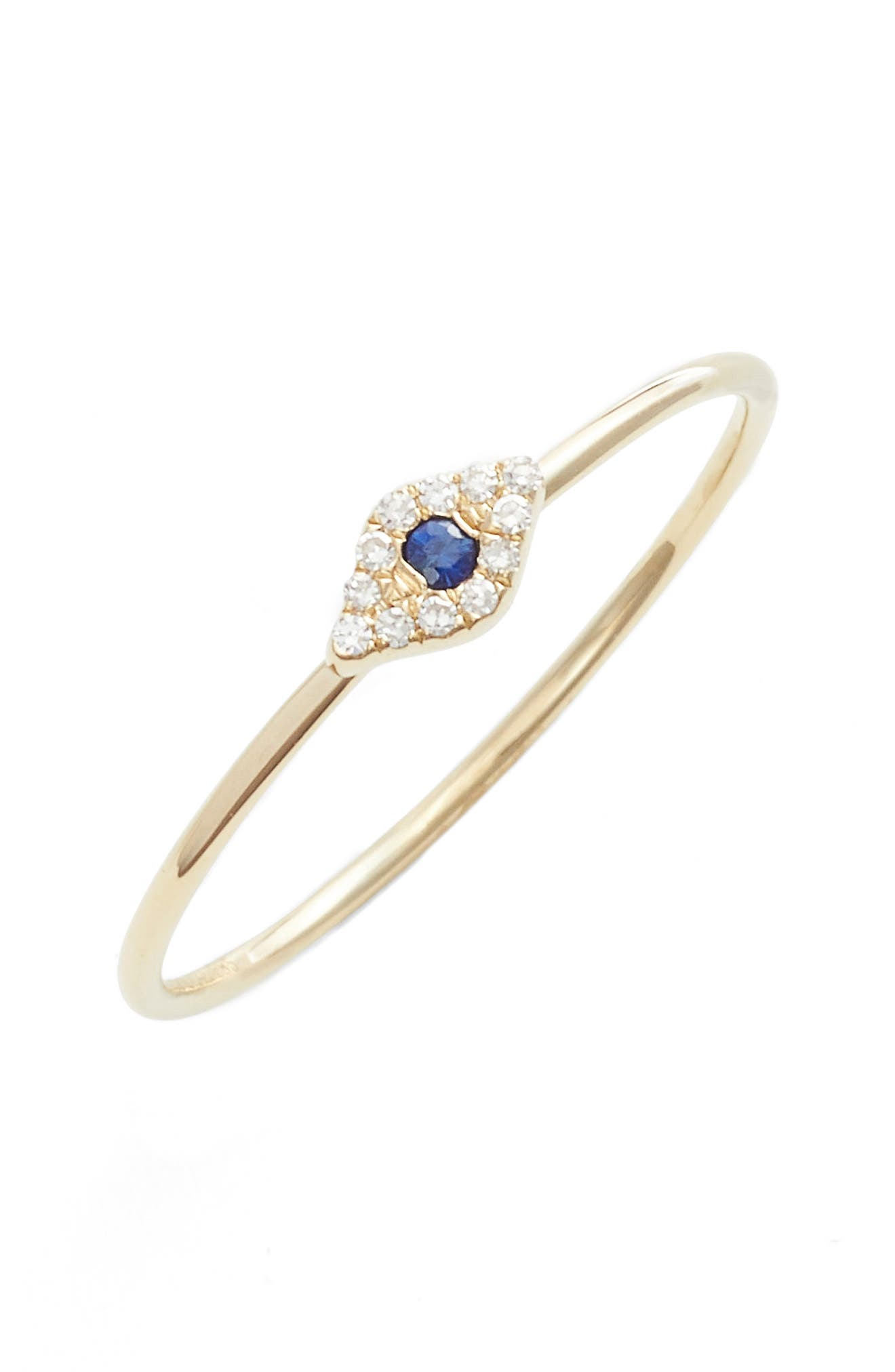 EF COLLECTION, Evil Eye Diamond & Sapphire Stack Ring, Main thumbnail 1, color, YELLOW GOLD/ SAPPHIRE