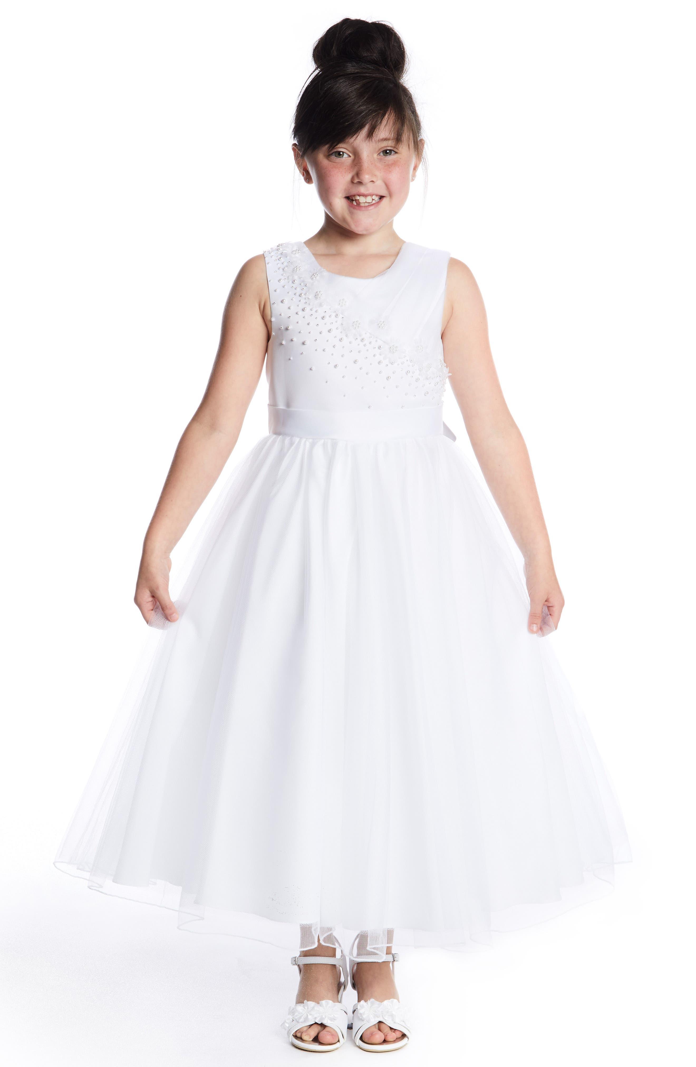 LAUREN MARIE, Imitation Pearl Tulle Dress, Alternate thumbnail 2, color, WHITE