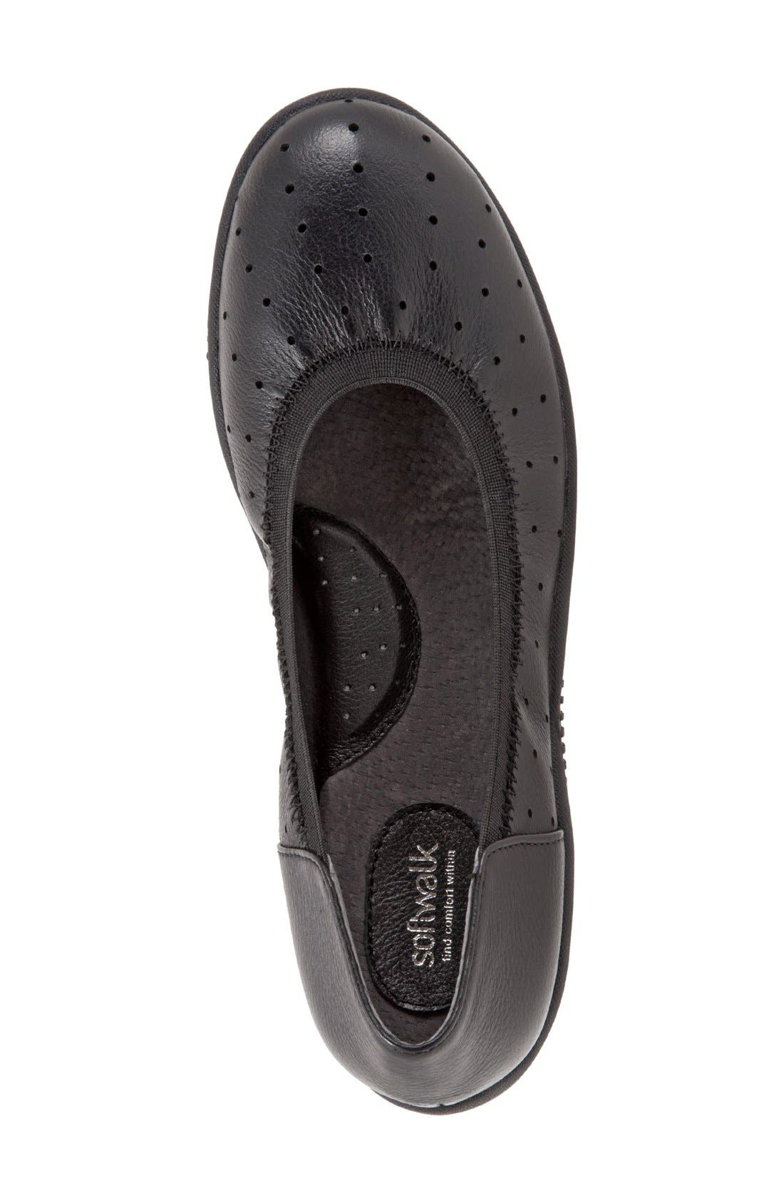 SOFTWALK<SUP>®</SUP>, 'Hampshire' Dot Perforated Ballet Flat, Alternate thumbnail 2, color, BLACK LEATHER
