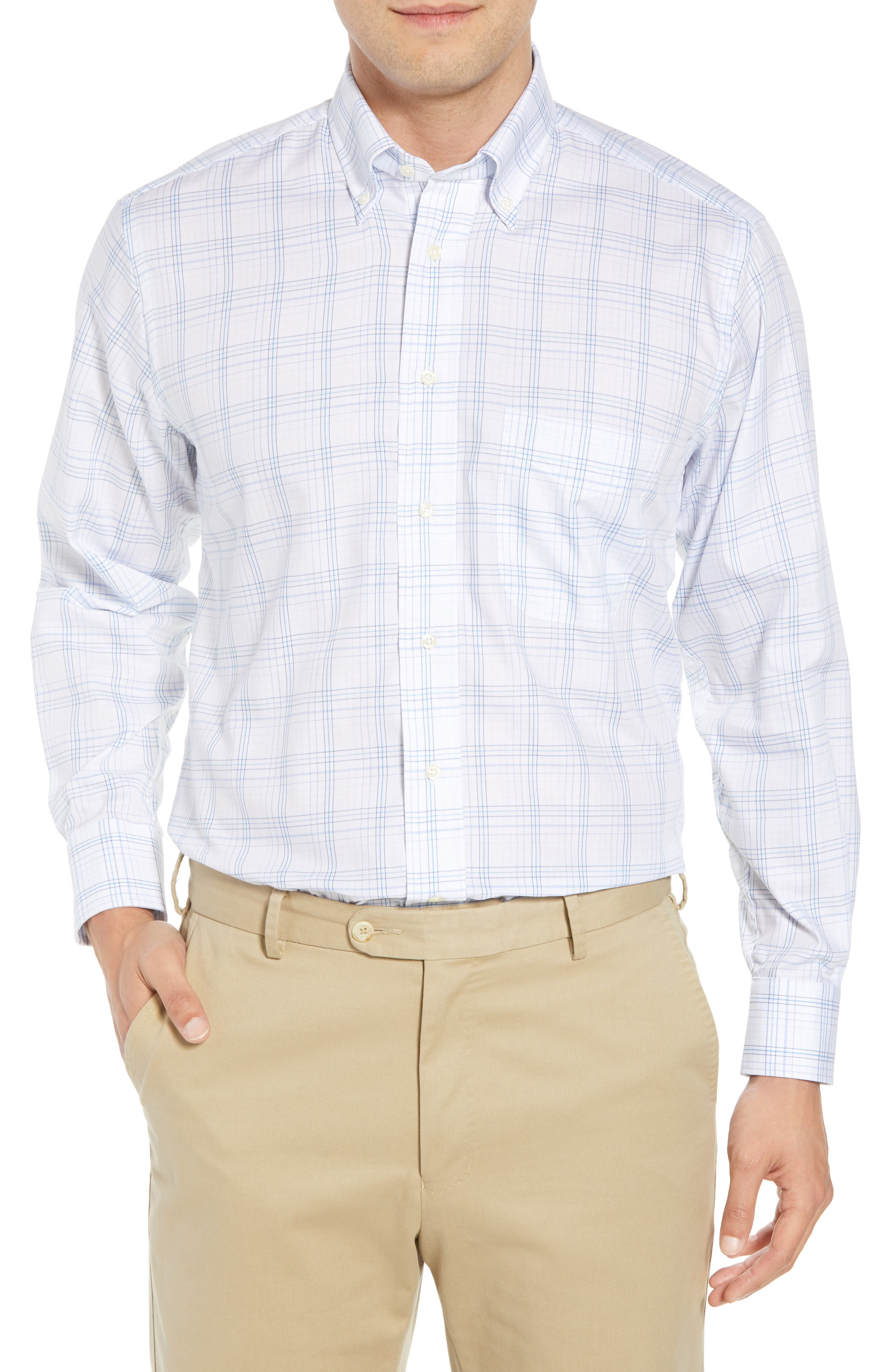 GITMAN Tailored Fit Plaid Dress Shirt, Main, color, BLUE