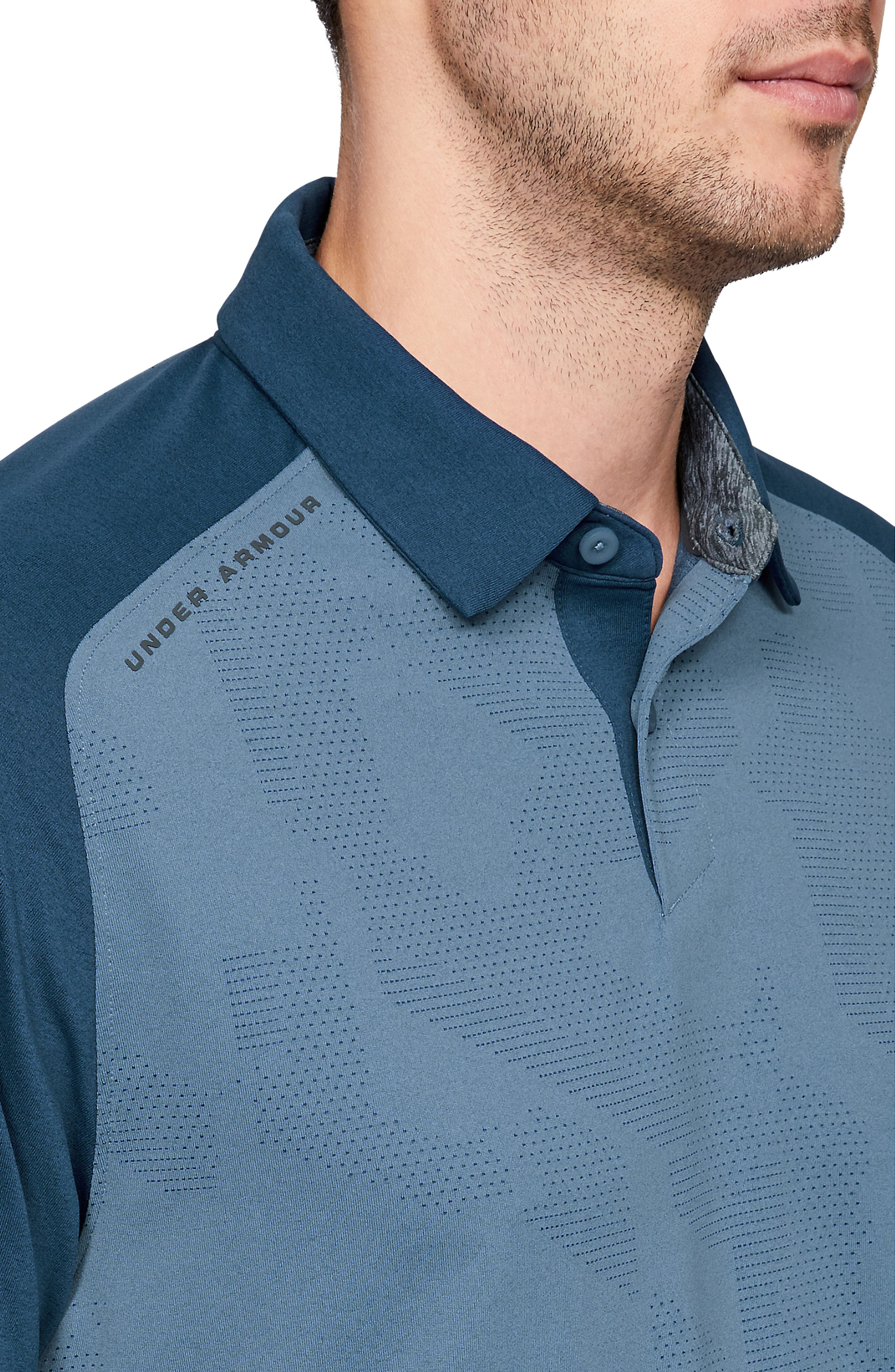 UNDER ARMOUR, Tour Tips Champion Loose Polo, Alternate thumbnail 4, color, THUNDER / / PITCH GRAY
