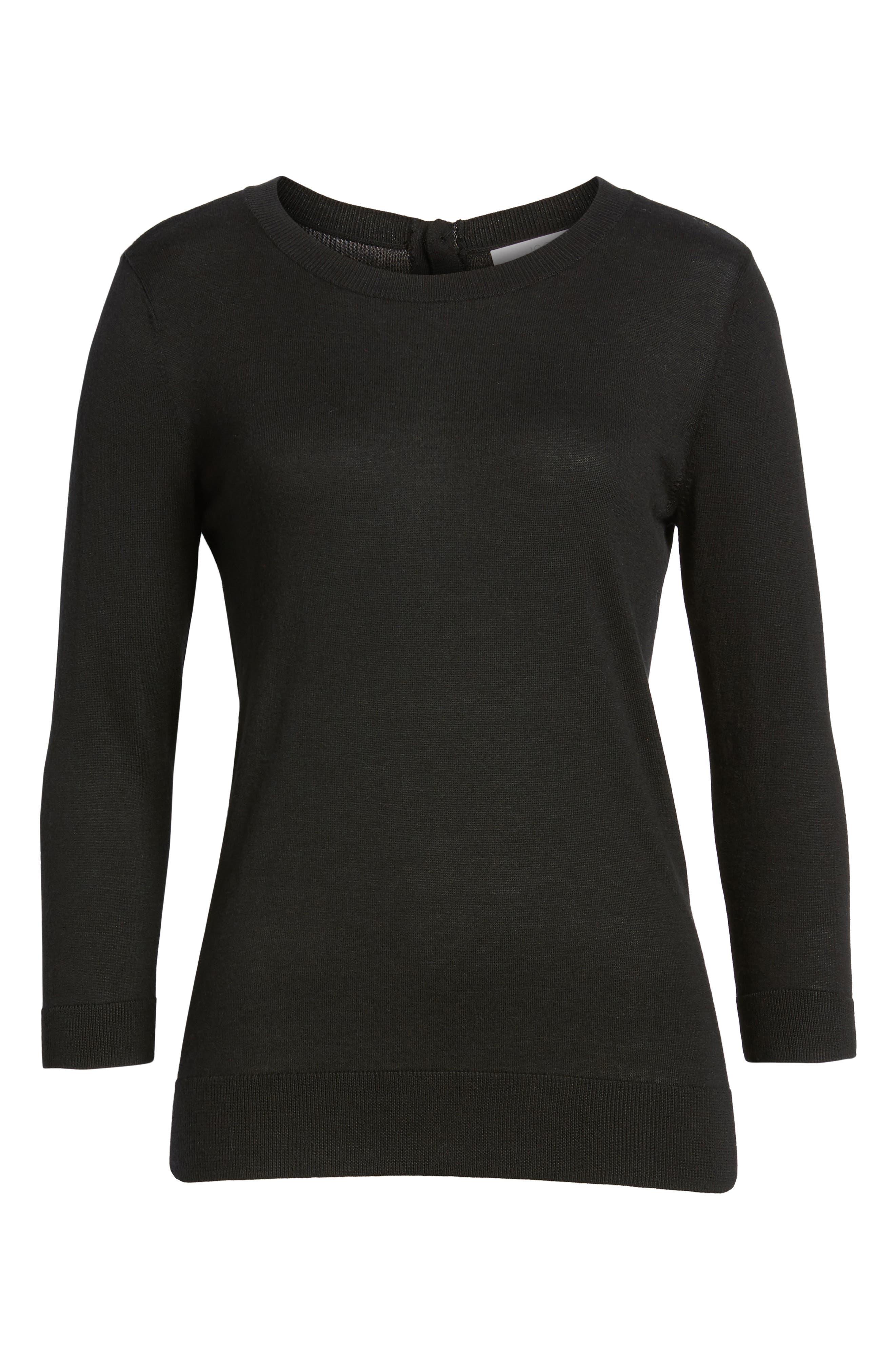 1901, Back Button Crewneck Sweater, Alternate thumbnail 6, color, BLACK
