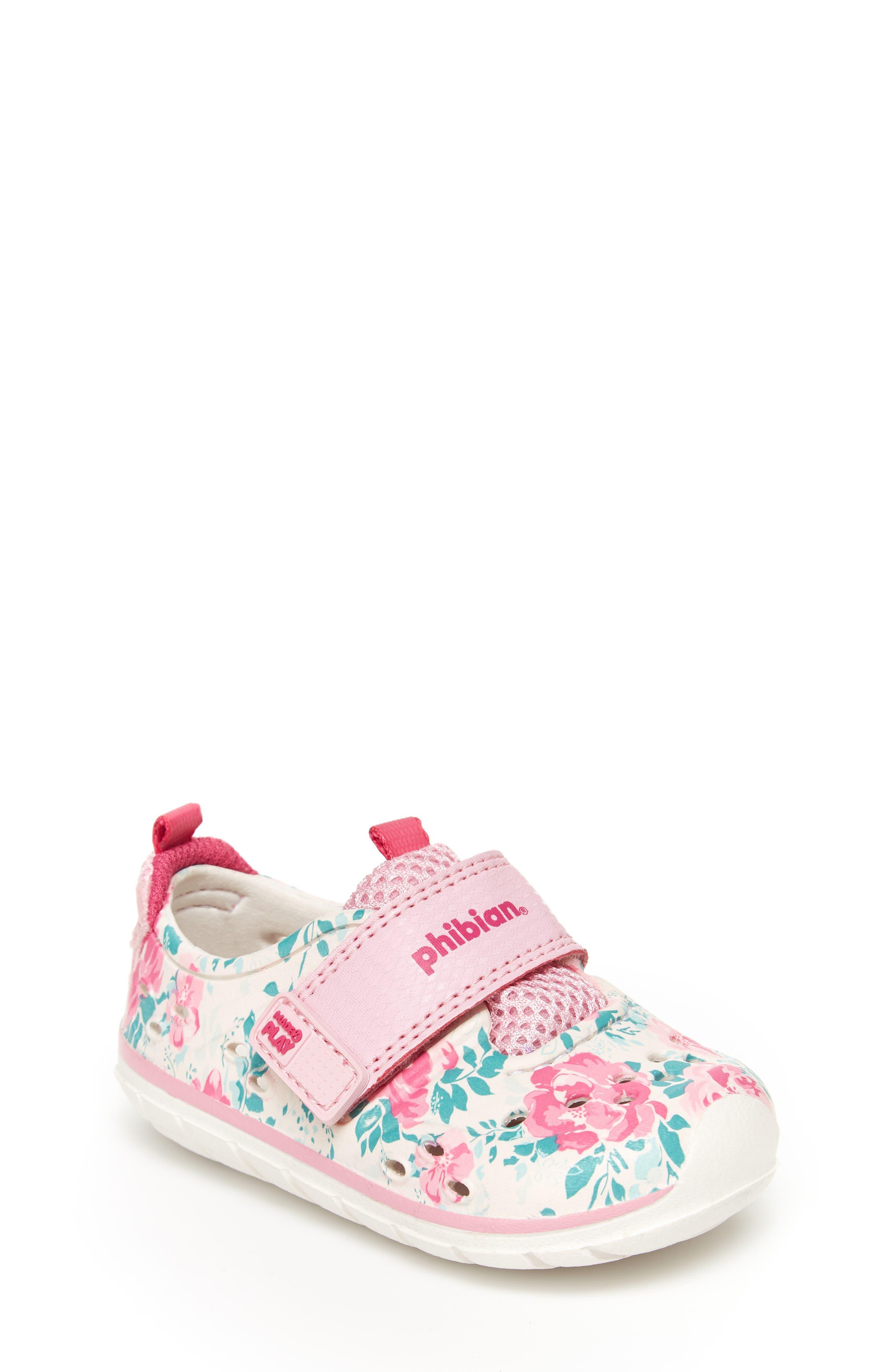 STRIDE RITE, Made2Play<sup>®</sup> Phibian Sneaker, Main thumbnail 1, color, WHITE/ PINK EVA