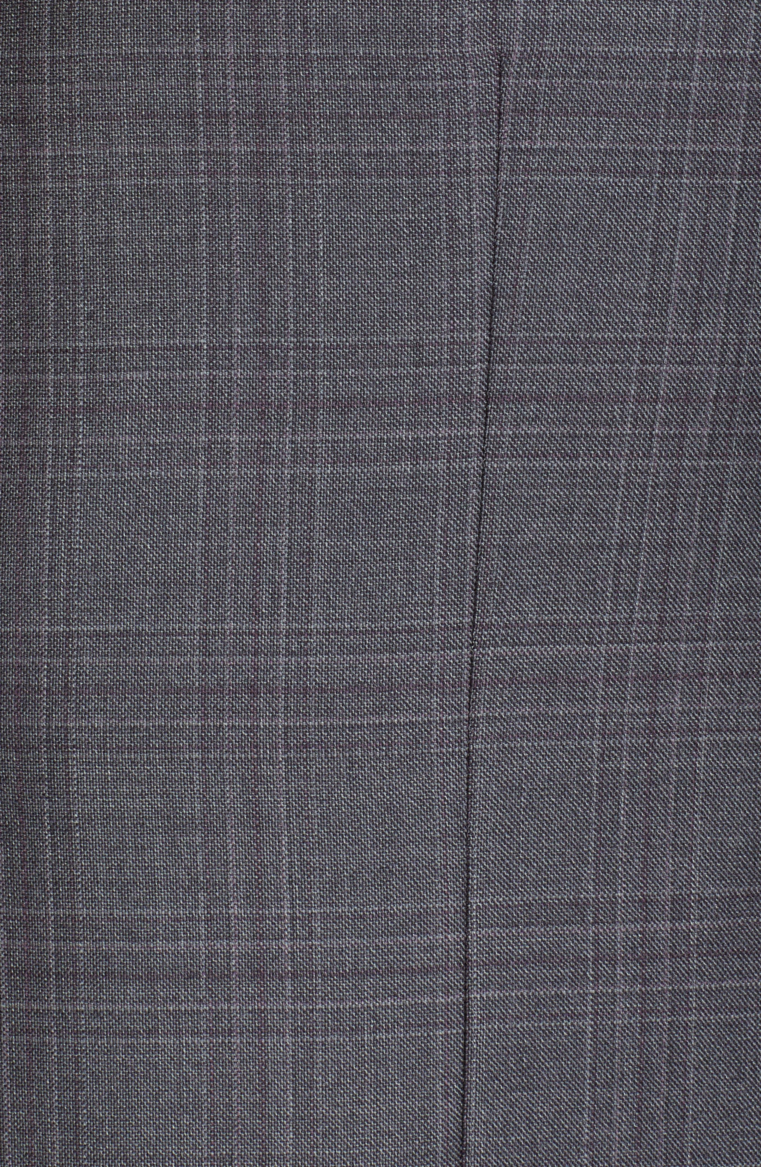 ERMENEGILDO ZEGNA, Milano Trofeo Classic Fit Plaid Wool Suit, Alternate thumbnail 7, color, GREY