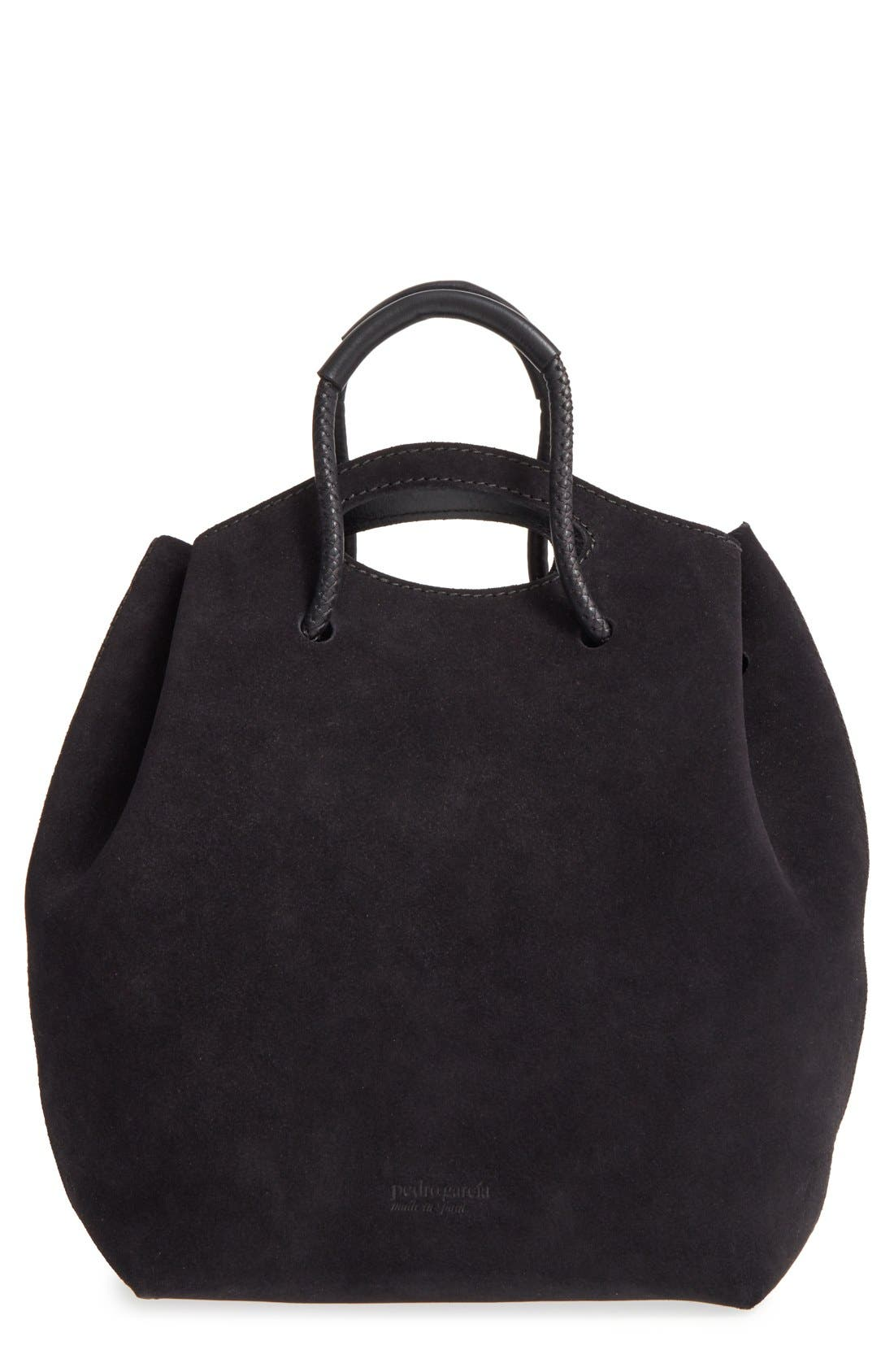 PEDRO GARCIA, Suede Drawstring Bucket Bag, Main thumbnail 1, color, 002