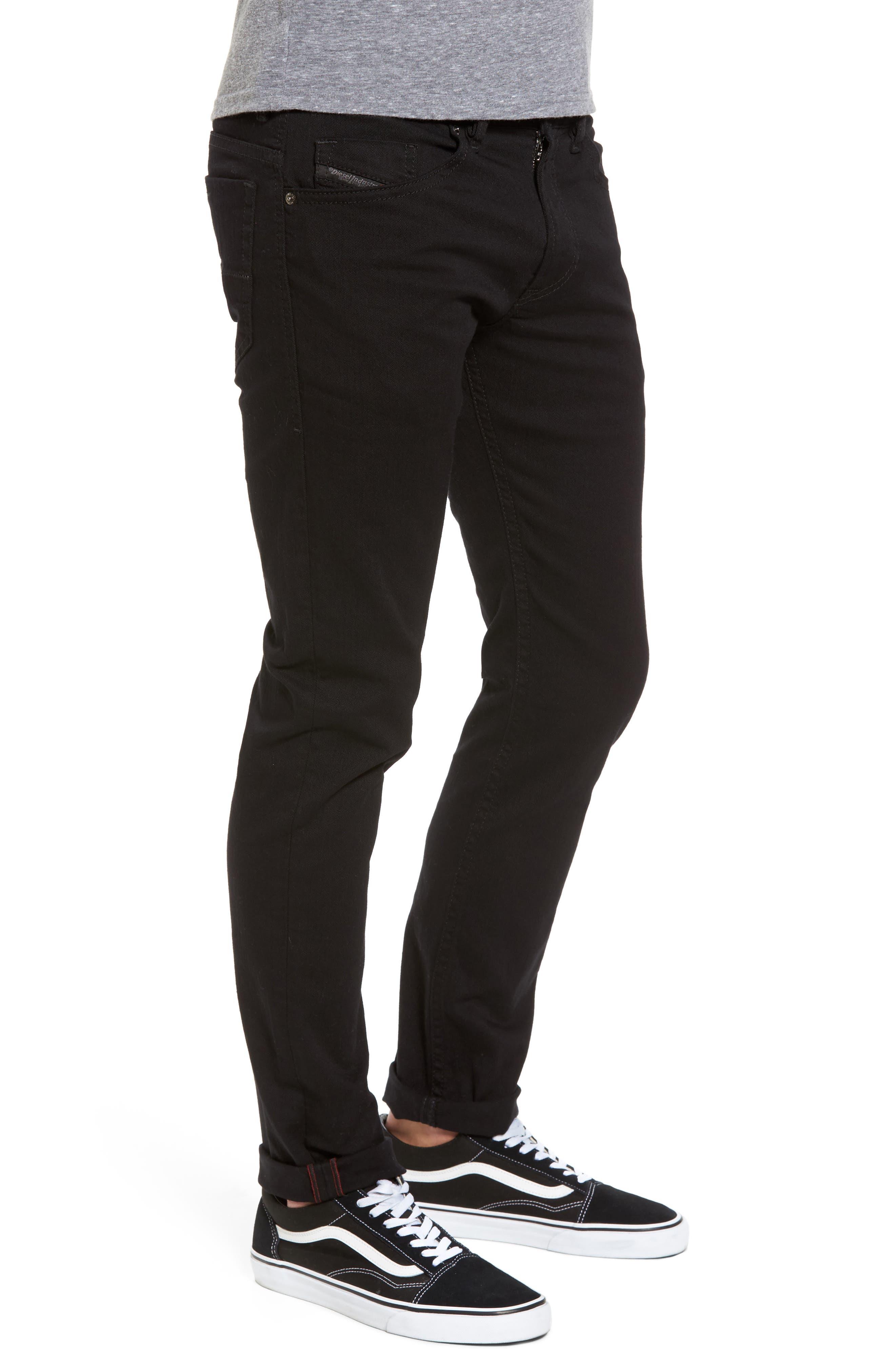 DIESEL<SUP>®</SUP>, Thommer Slim Fit Jeans, Alternate thumbnail 4, color, BLACK/ DENIM
