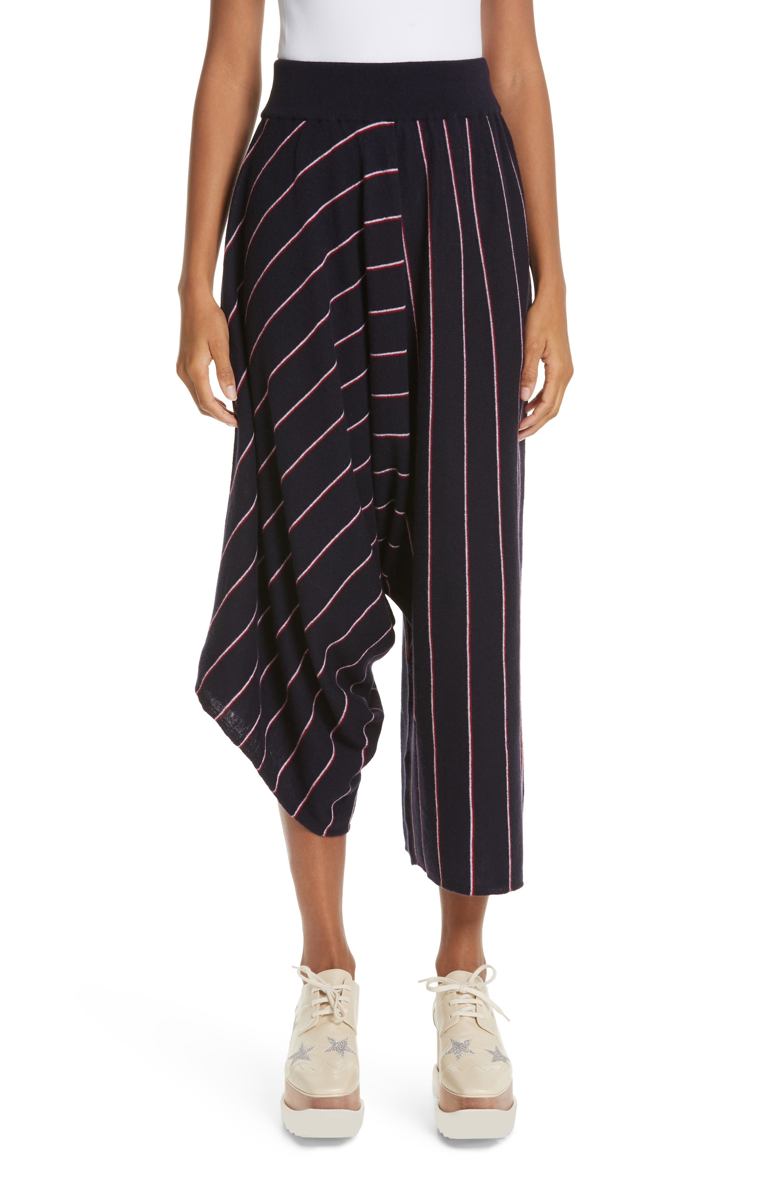 STELLA MCCARTNEY, Stripe Wool Knit Crop Pants, Main thumbnail 1, color, INK