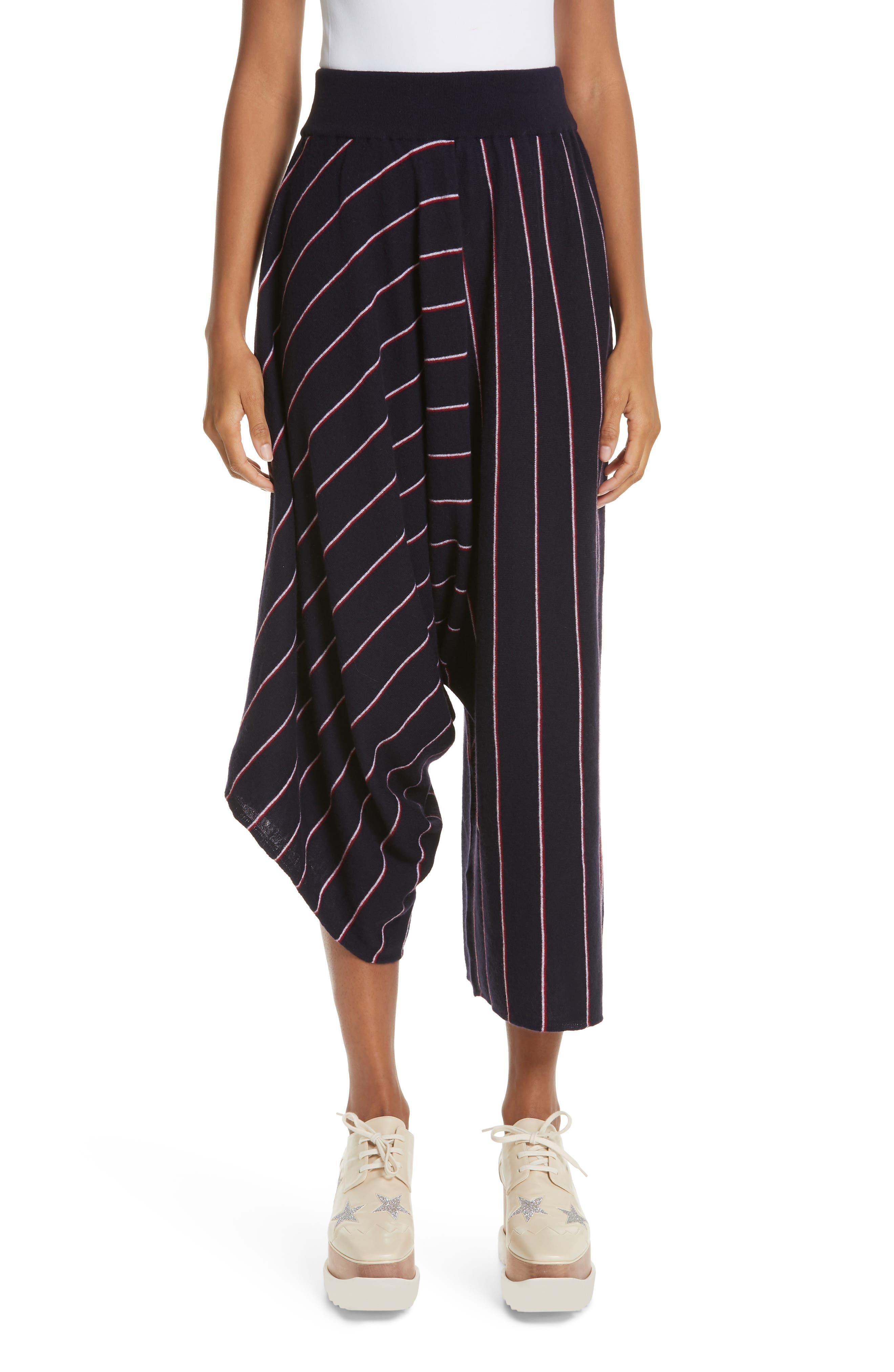 STELLA MCCARTNEY Stripe Wool Knit Crop Pants, Main, color, INK