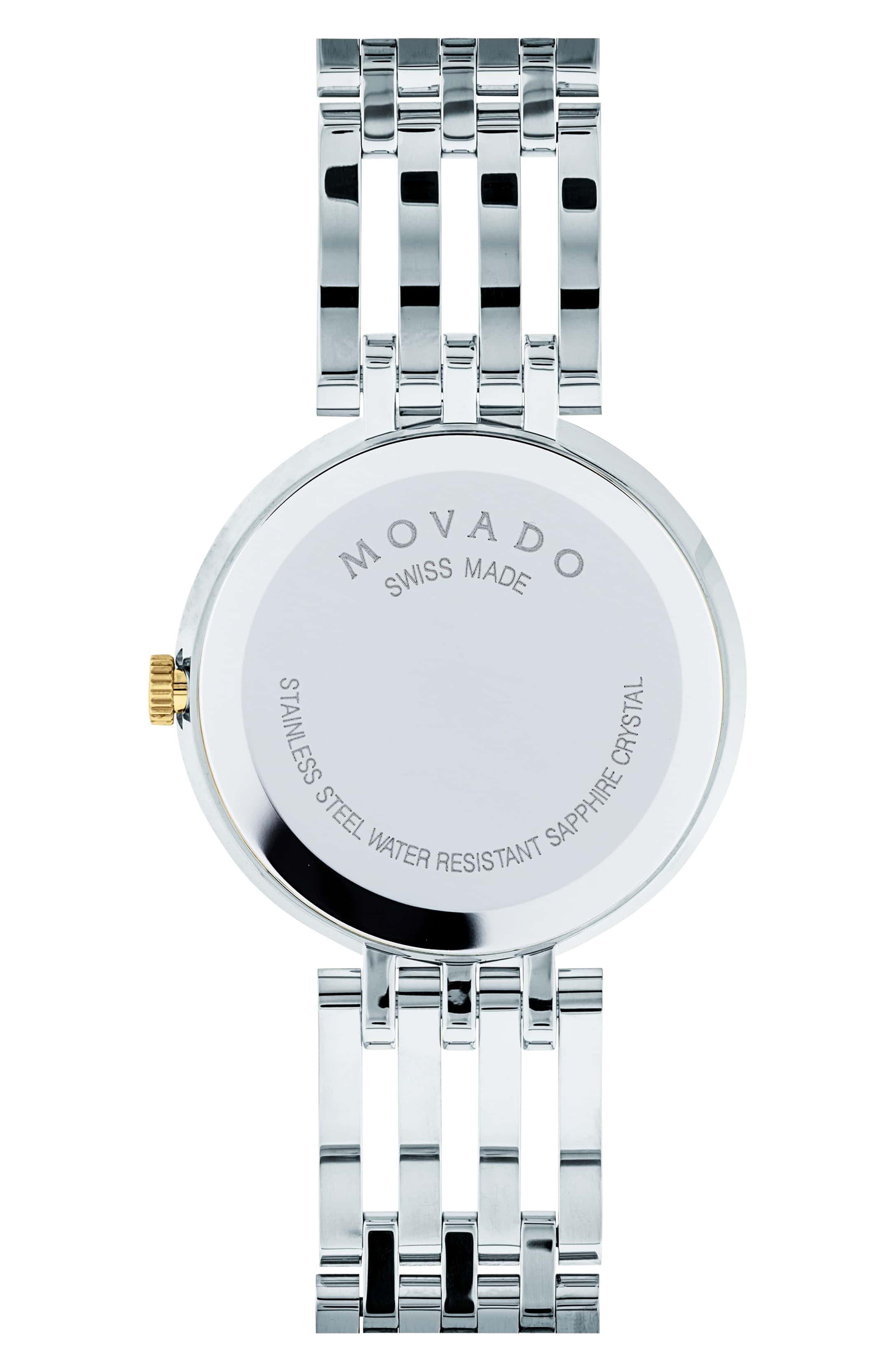 MOVADO, 'Esperanza' Bracelet Watch, 28mm, Alternate thumbnail 2, color, SILVER/ BLACK/ GOLD