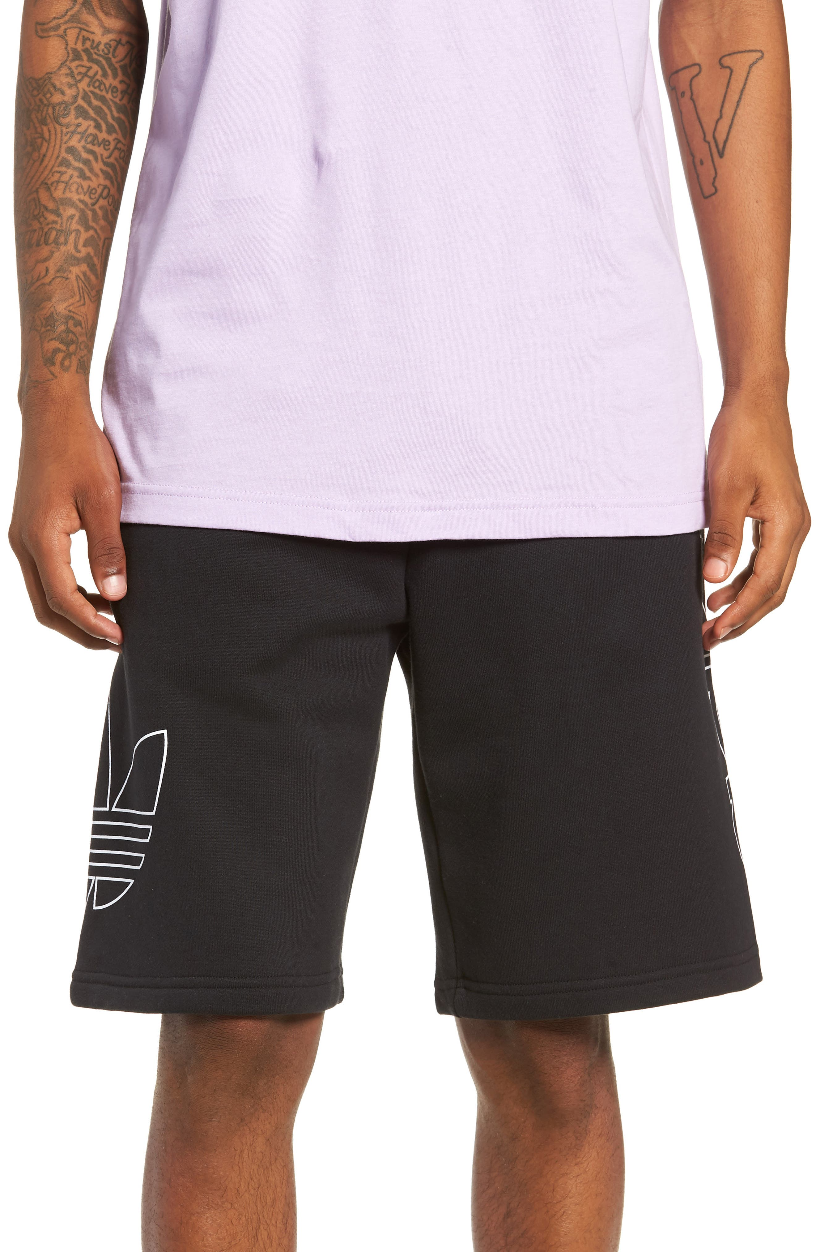 ADIDAS ORIGINALS, FT OTLN Athletic Shorts, Main thumbnail 1, color, BLACK/ WHITE