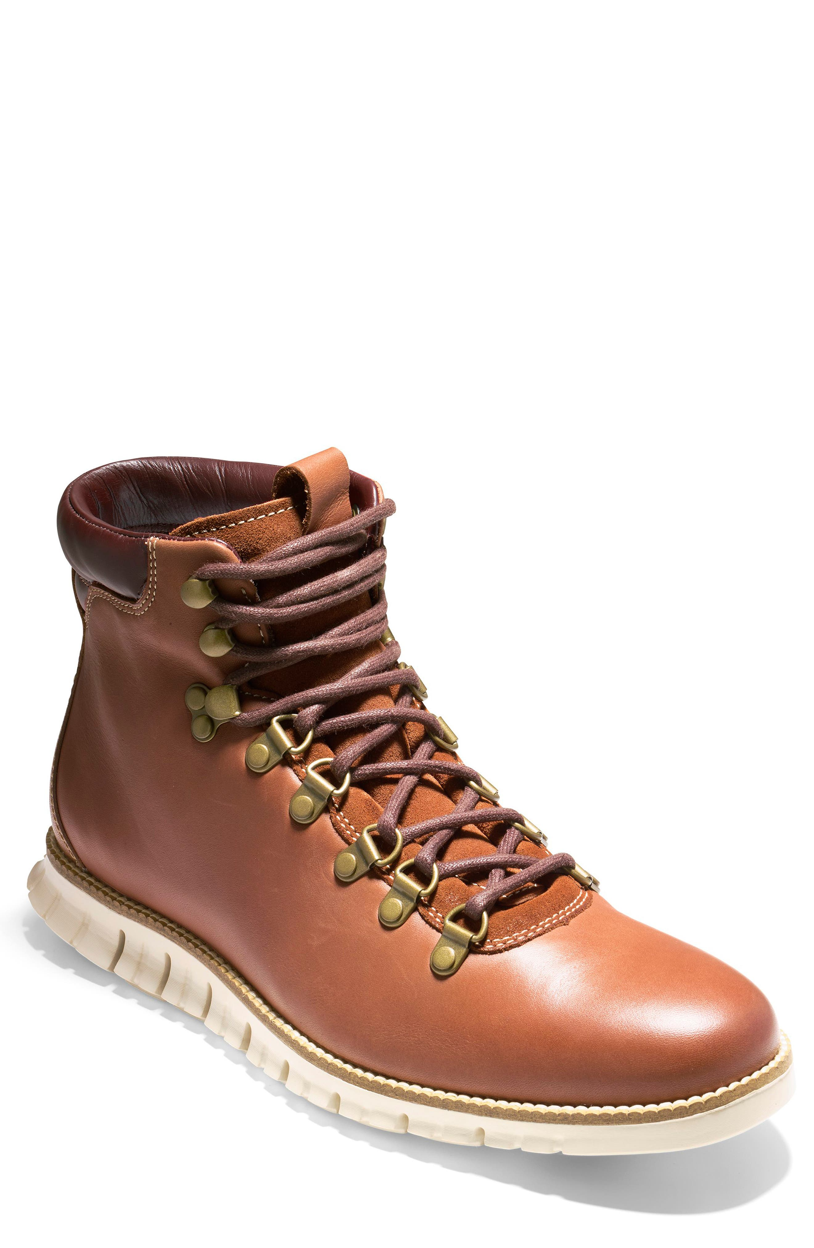 COLE HAAN, ZeroGrand Water Resistant Hiker Boot, Main thumbnail 1, color, WOODBURY / IVORY LEATHER
