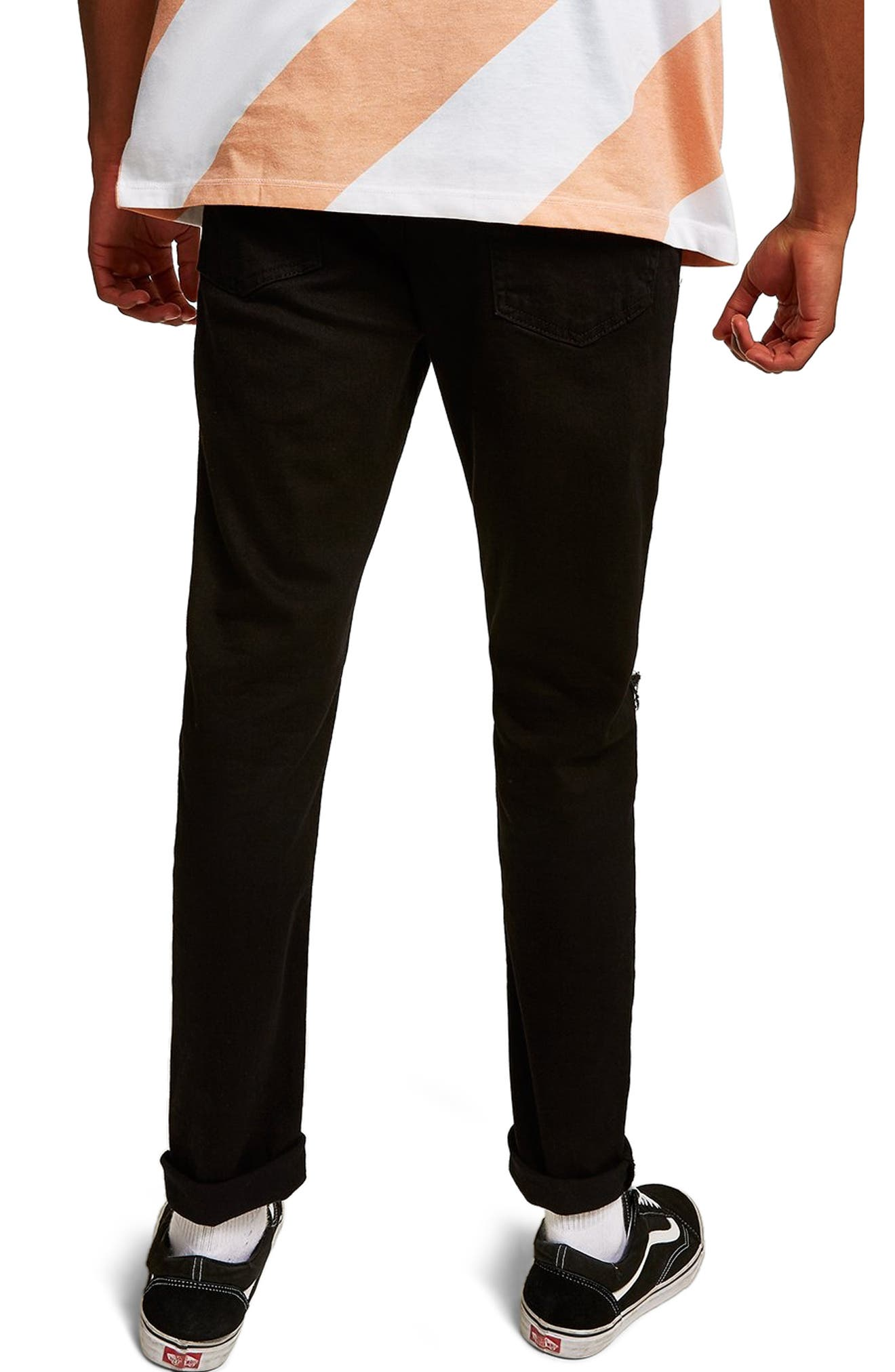 TOPMAN, Double Ripped Skinny Fit Jeans, Alternate thumbnail 2, color, BLACK