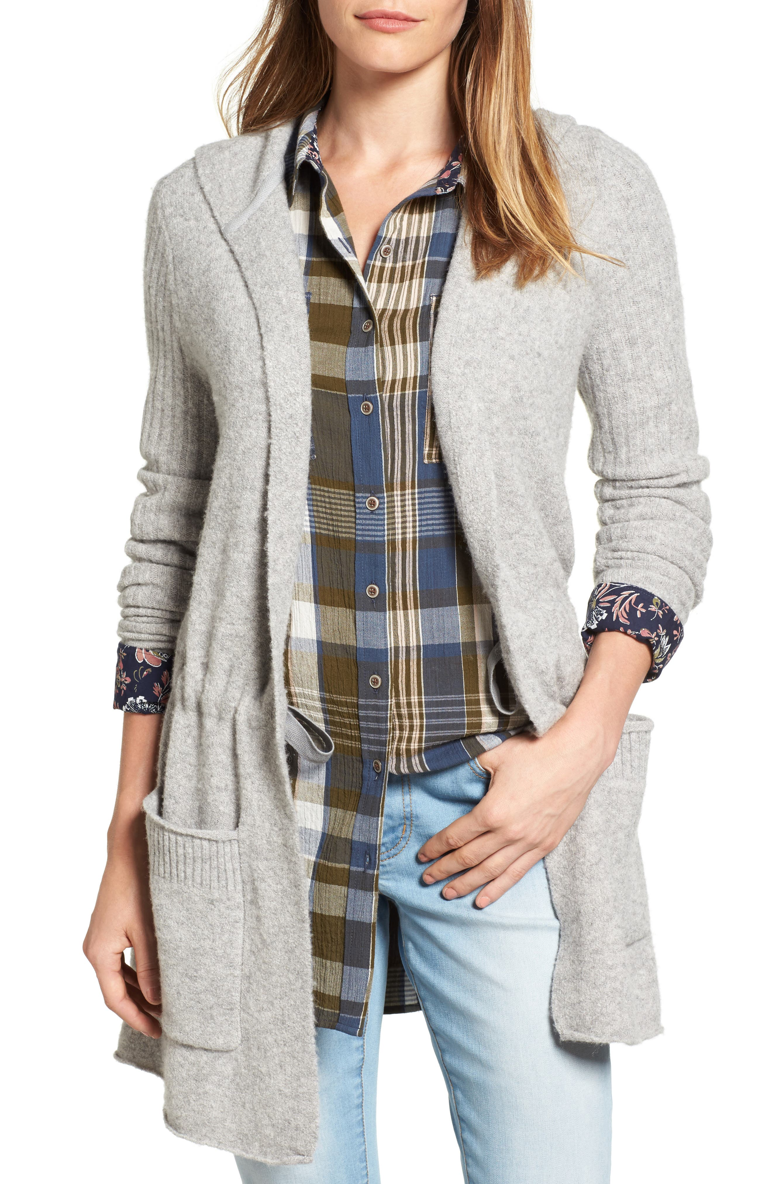 CASLON<SUP>®</SUP>, Hooded Cardigan, Main thumbnail 1, color, HEATHER GREY