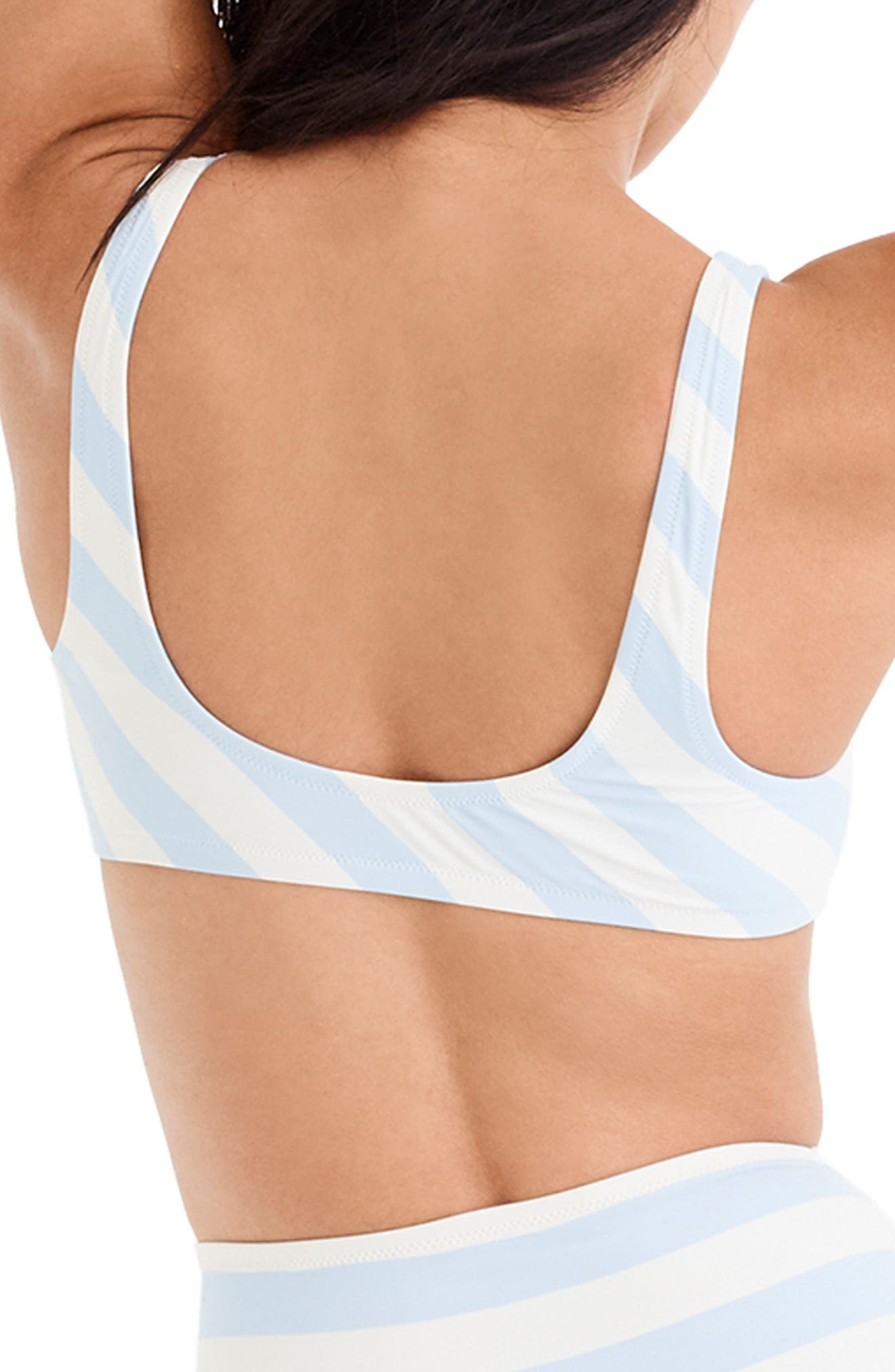 J.CREW, Stripe Scoop Neck Bikini Top, Alternate thumbnail 2, color, 400