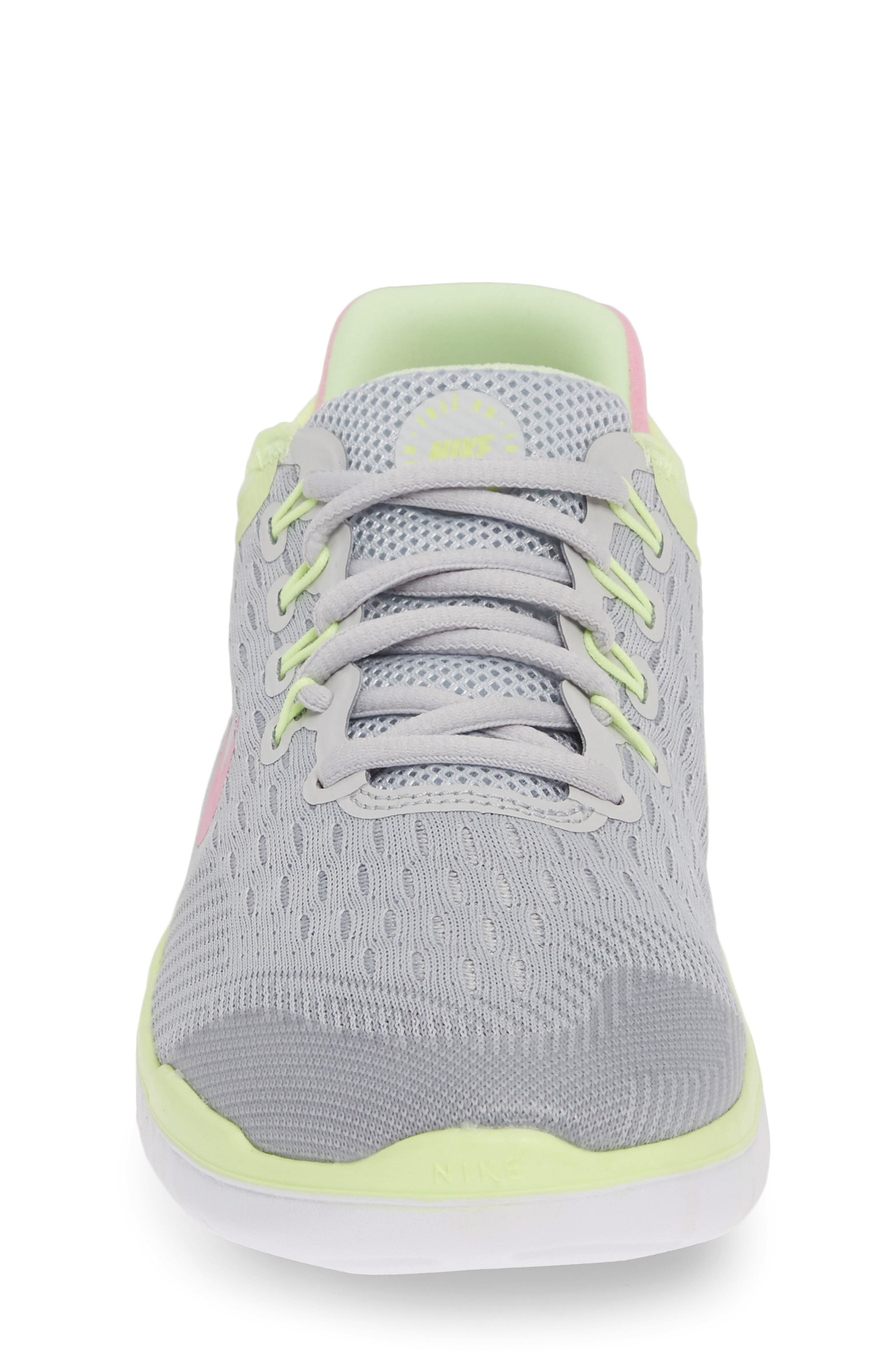 NIKE, Free RN 2018 Running Shoe, Alternate thumbnail 4, color, PURE PLATINUM/ PINK RISE-VOLT