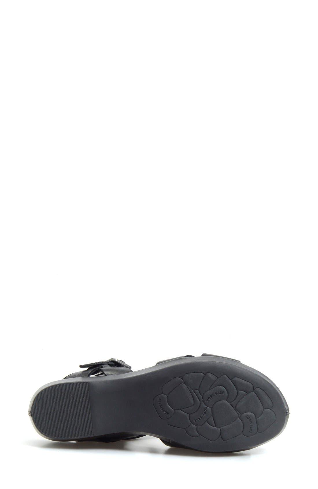 KORK-EASE<SUP>®</SUP>, 'Myrna 2.0' Cork Wedge Sandal, Alternate thumbnail 4, color, BLACK LEATHER